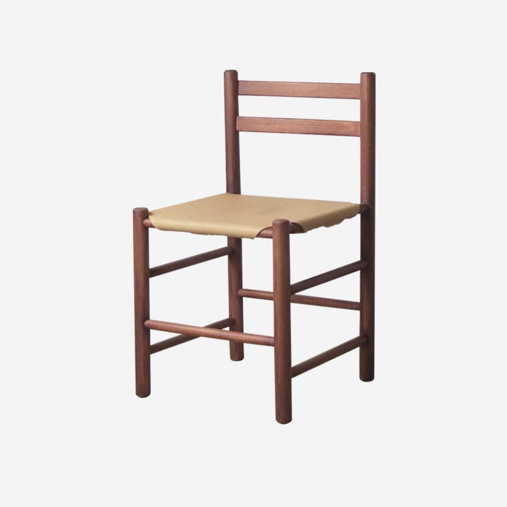 silla ate van apeldoorn de madera maciza y piel tensada vintage mid century años 60