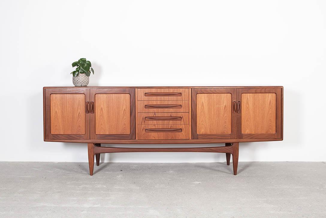 mueble cinco cuerpos vintage madera de teca puertas tiradores almacenaje