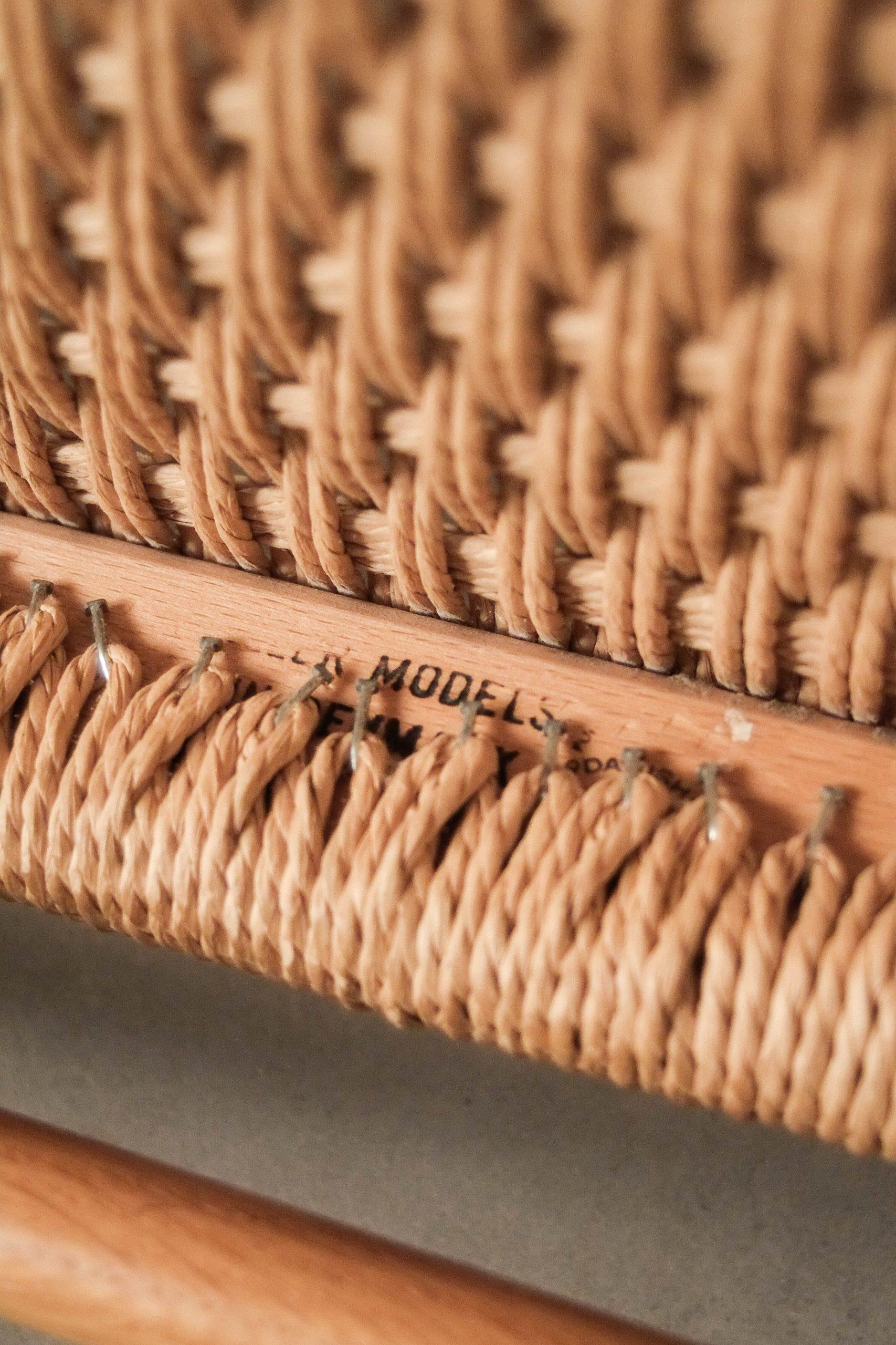 silla moller de comedor de papel trenzado fabricada a mano mid century