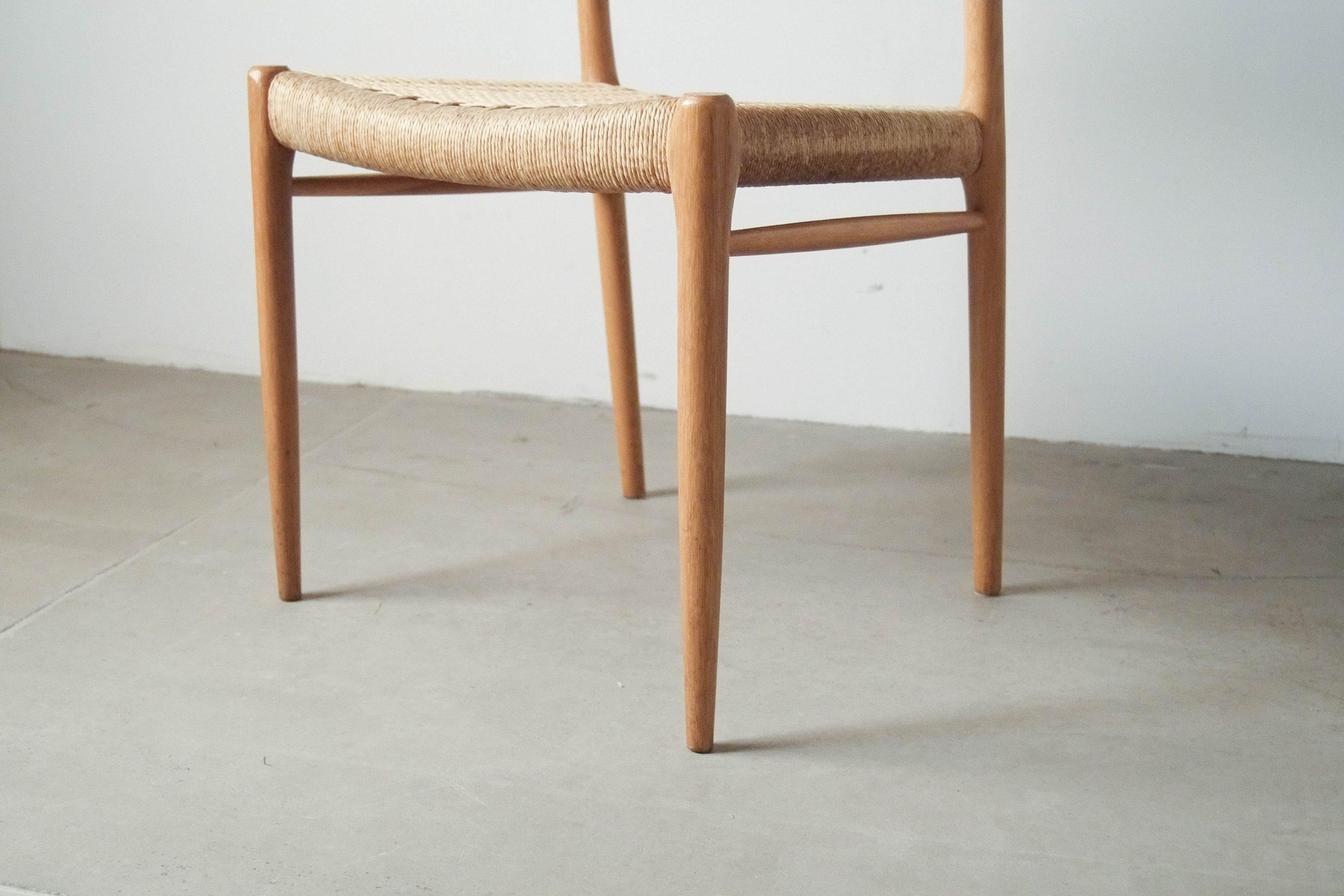 silla de comedor cocina comoda de dieño mid century años 60 madera de roble