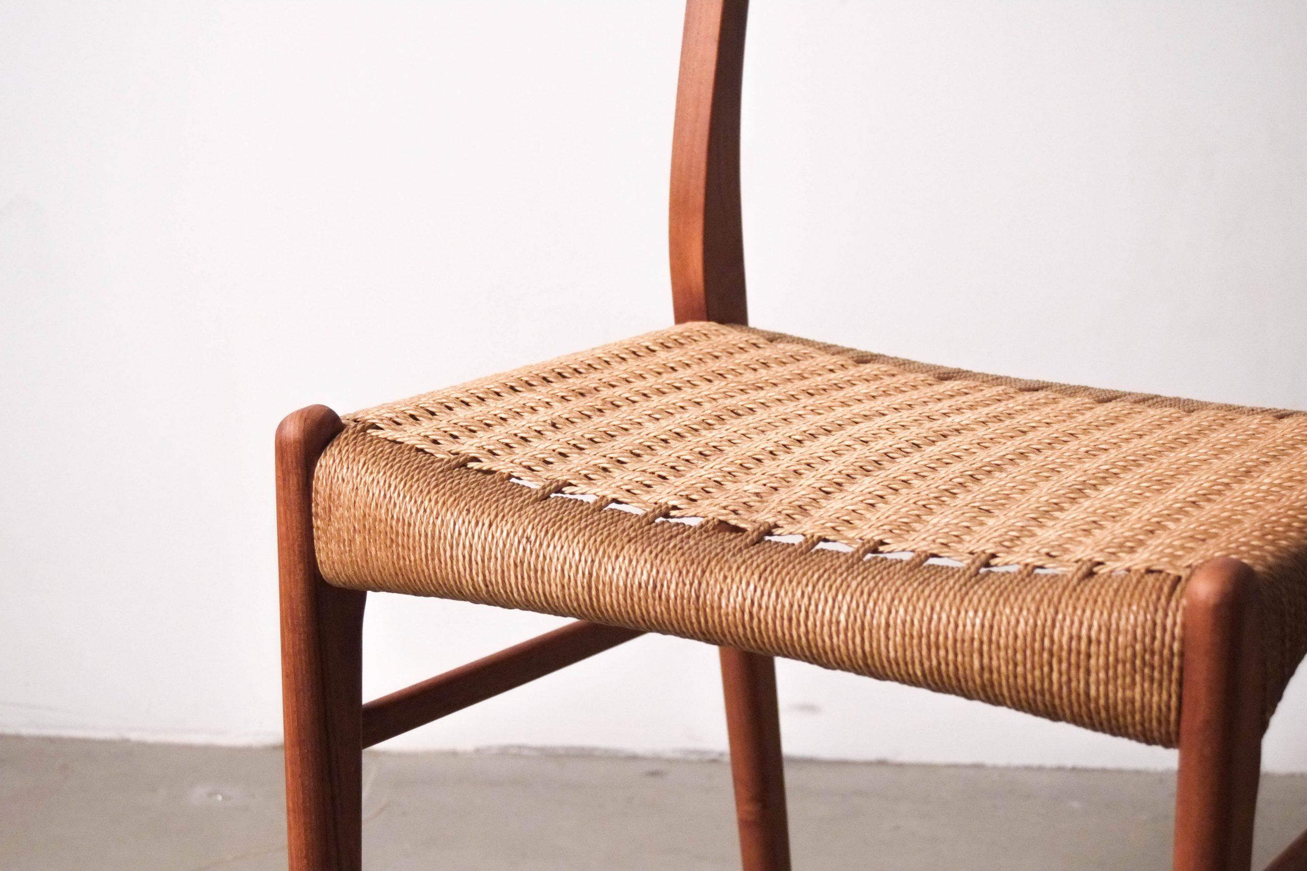 detalle asiento silla teca nordica vintage comoda de comedor