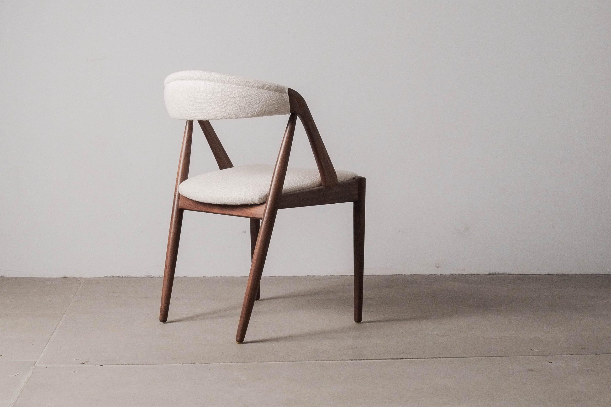 silla de diseño silla de calidad mid century madera de teca respaldo curvo kai kristiansen vintage