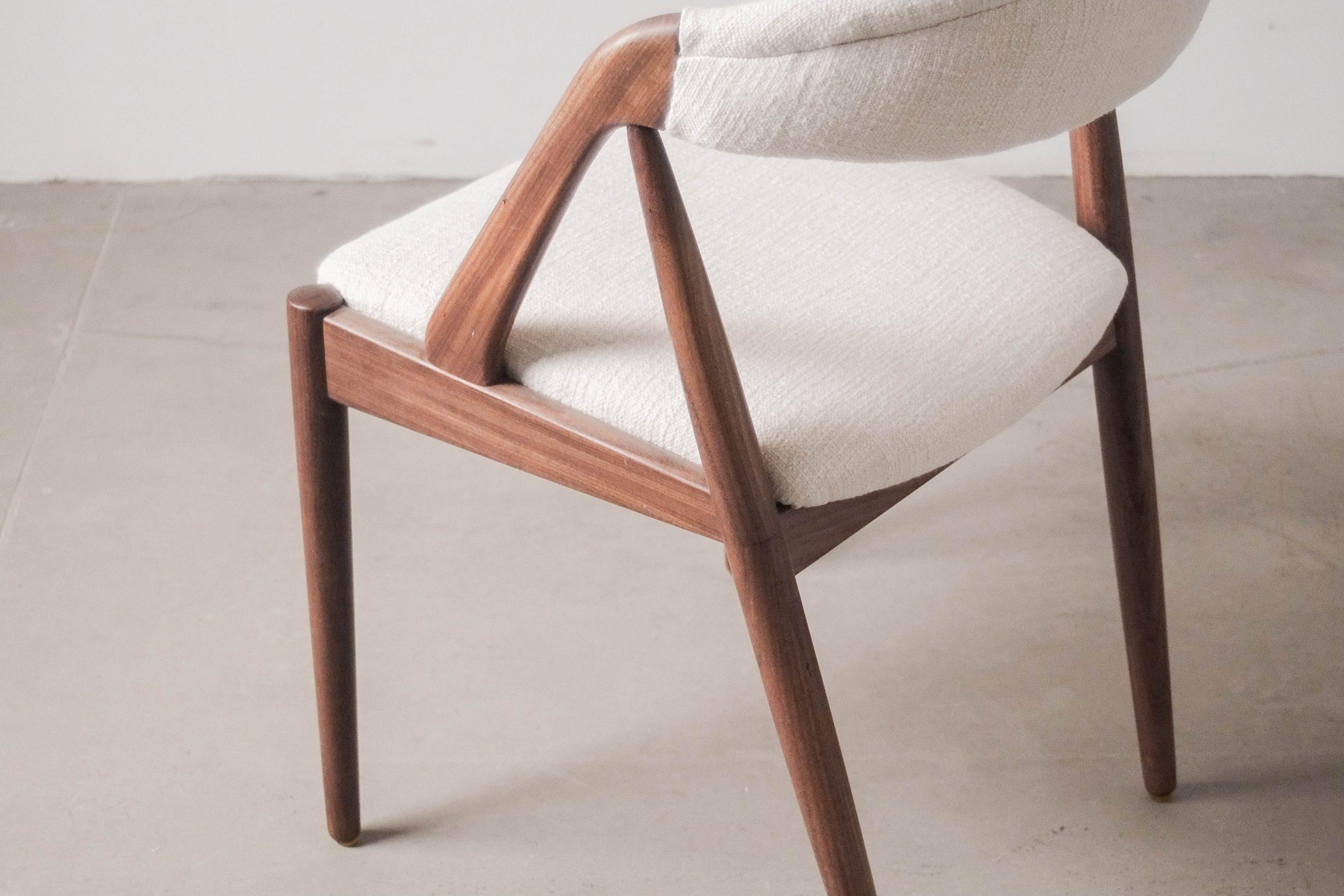 silla kai kristiansen de comedor de salon diseño vintage calidad tapizada lino