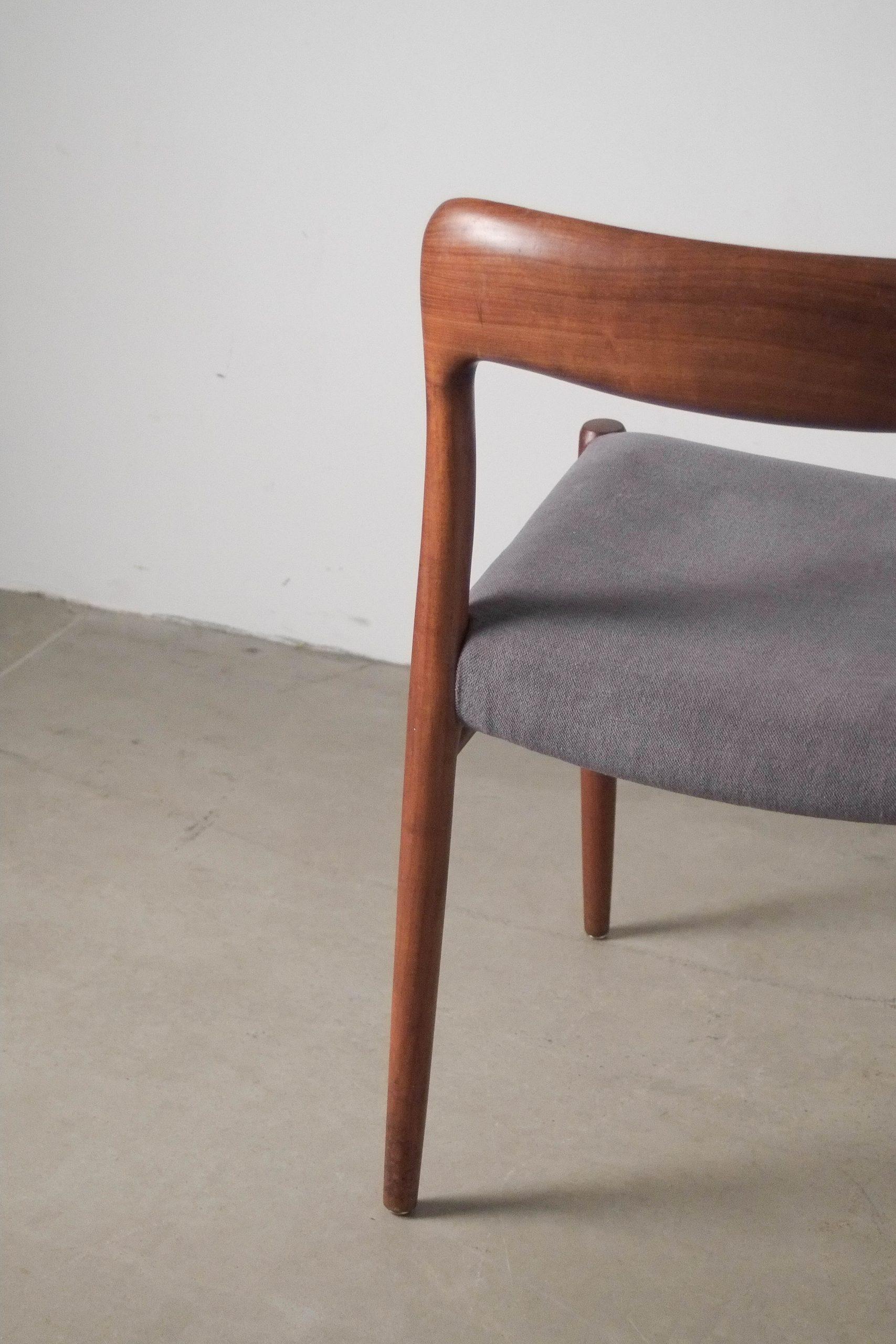 silla moller de comedor tapizada mid century teca madera