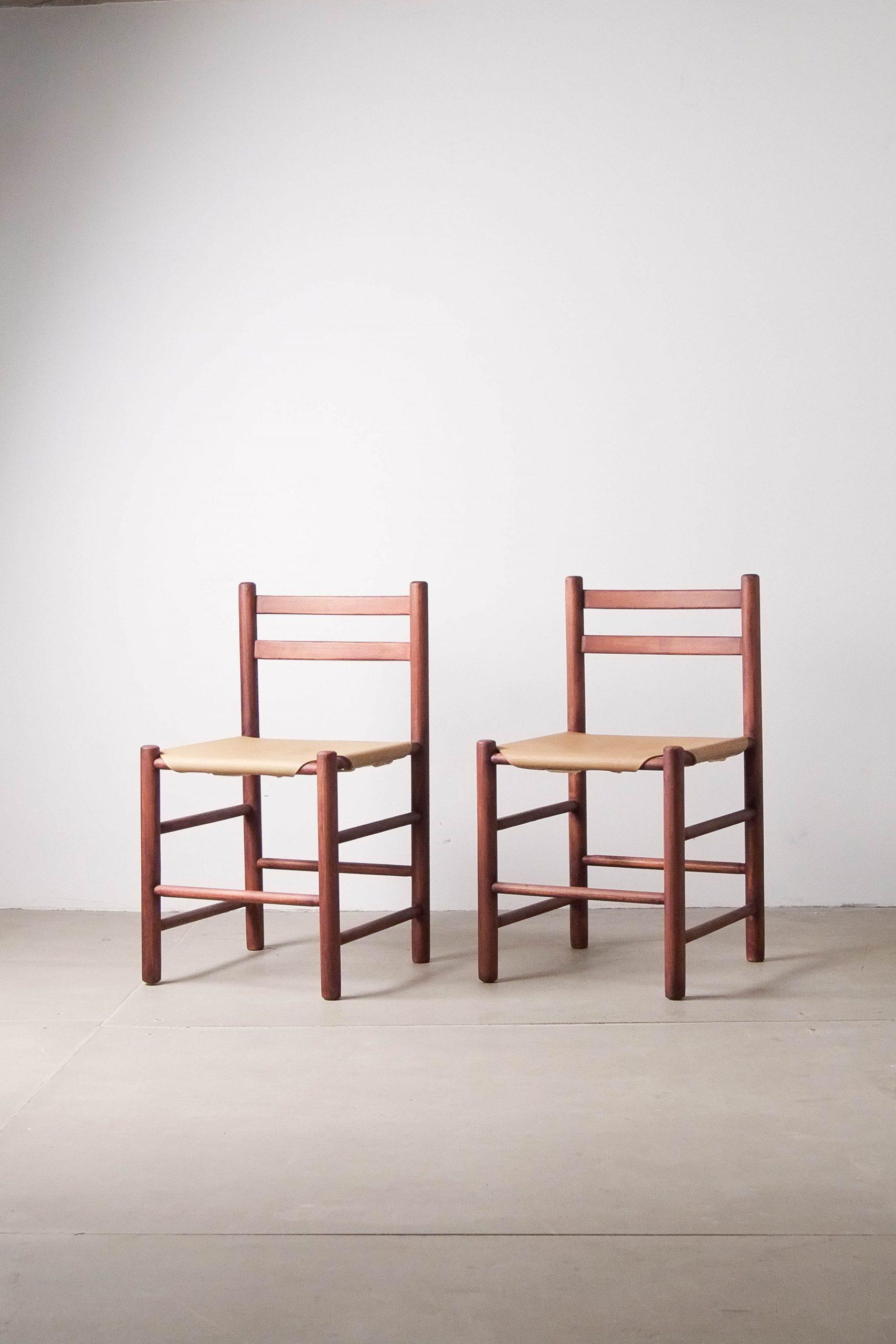 silla holandesa de diseño de madera maciza y piel vintage años 60
