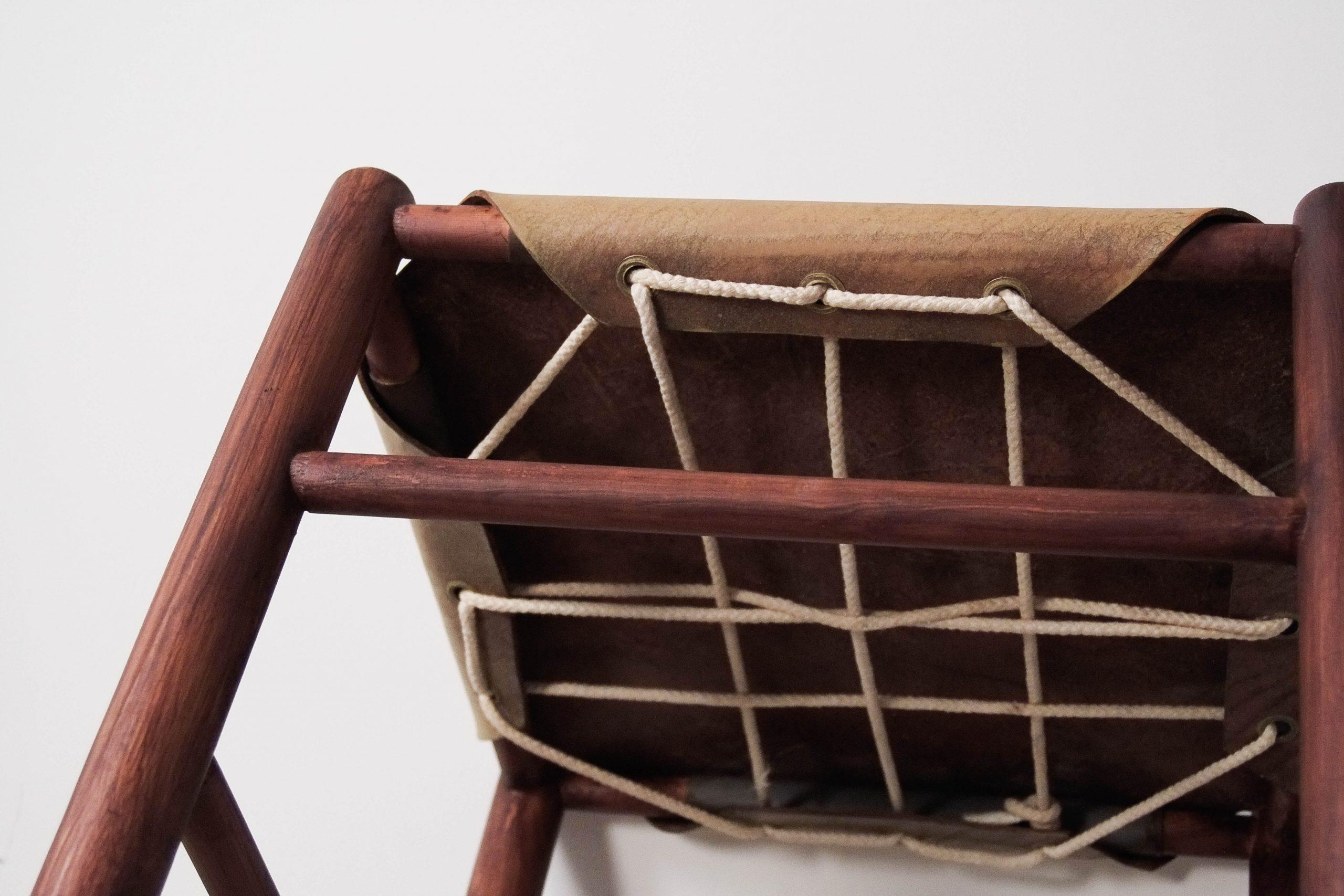 detalle trenzado hecho a mano tensado piel tensada silla ate von vintage