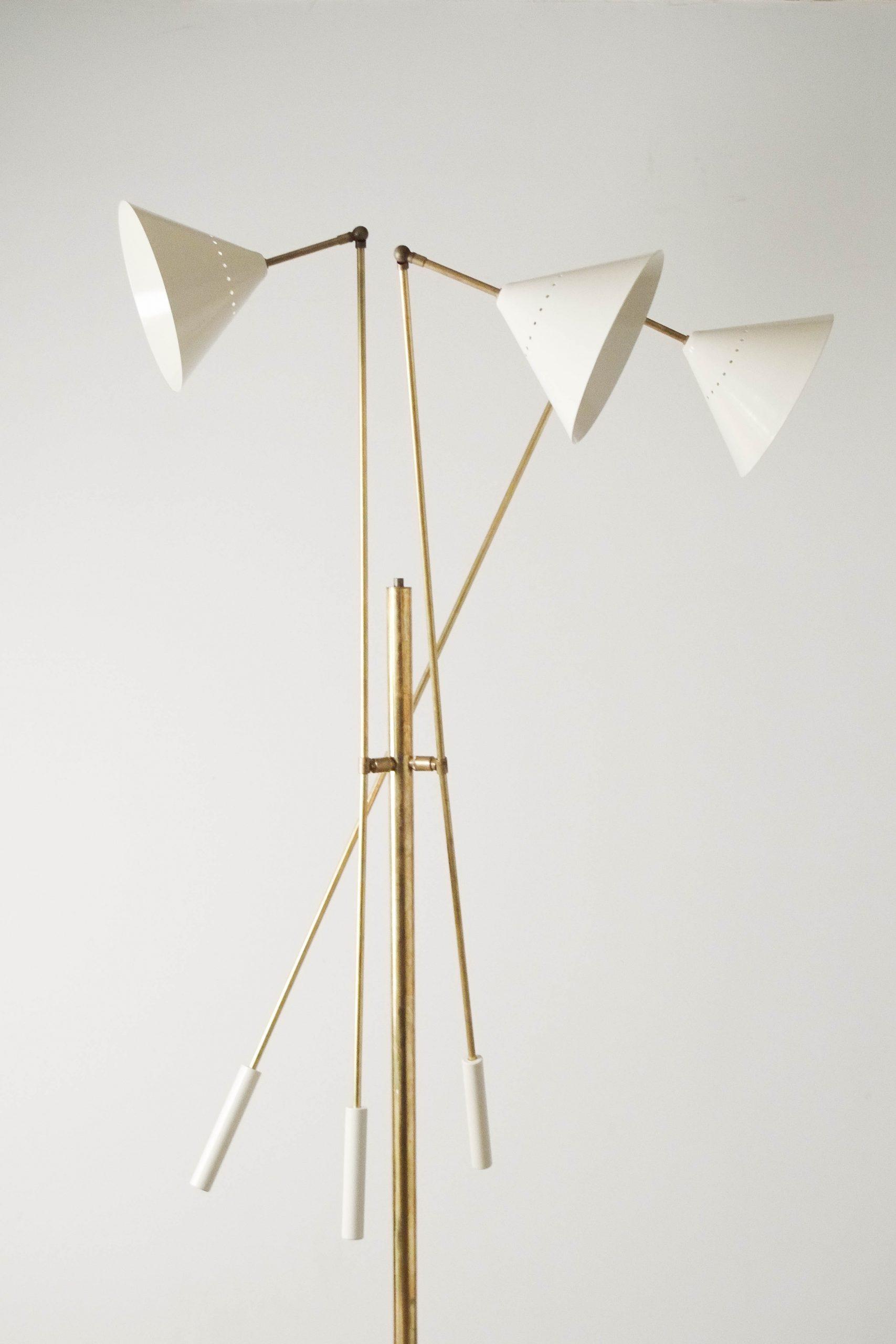 lampara de laton italiana de diseño stilnovo pie marmol salon diseño