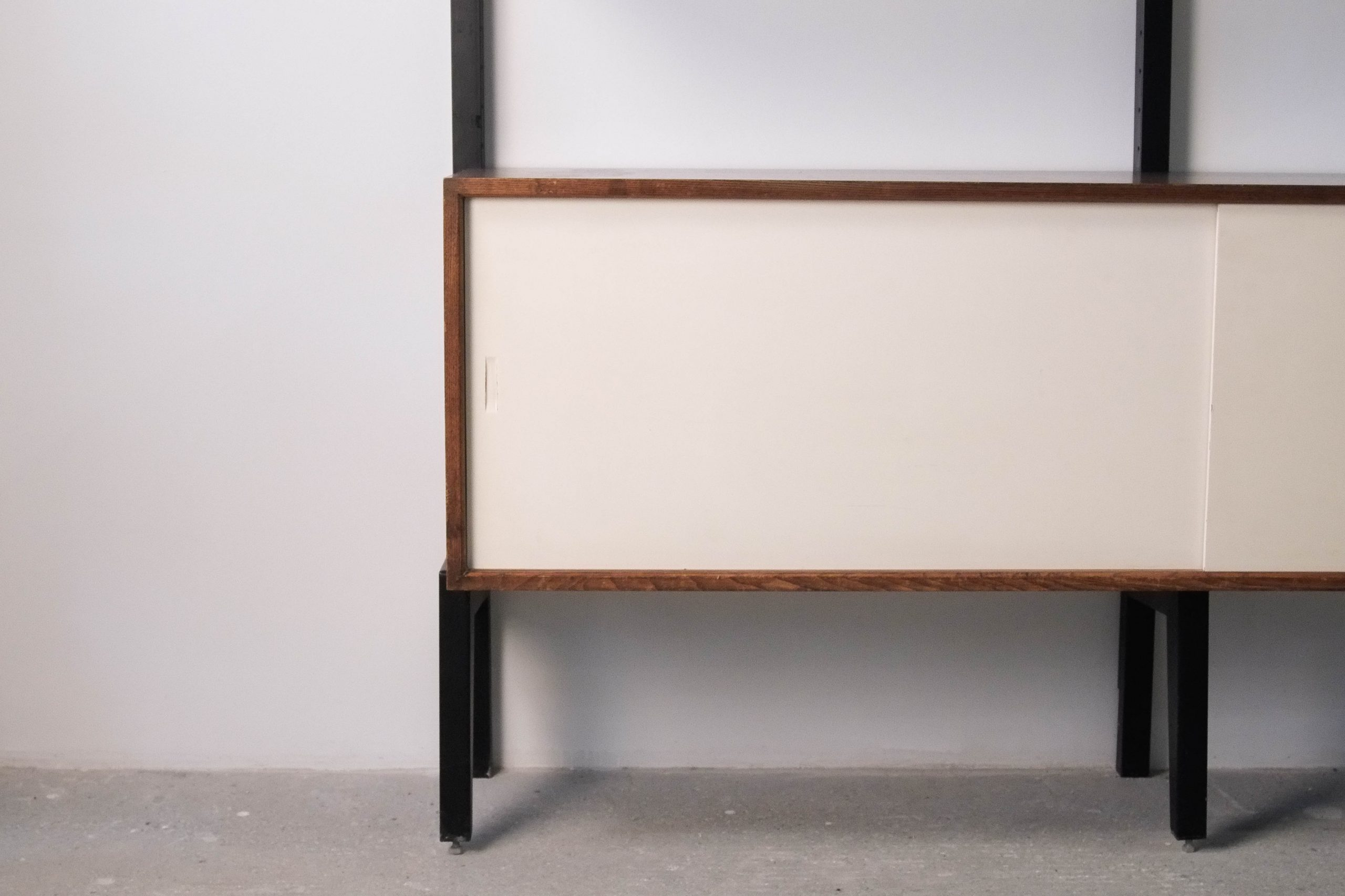 estanteria mid century de palosanto y metal modular sistema