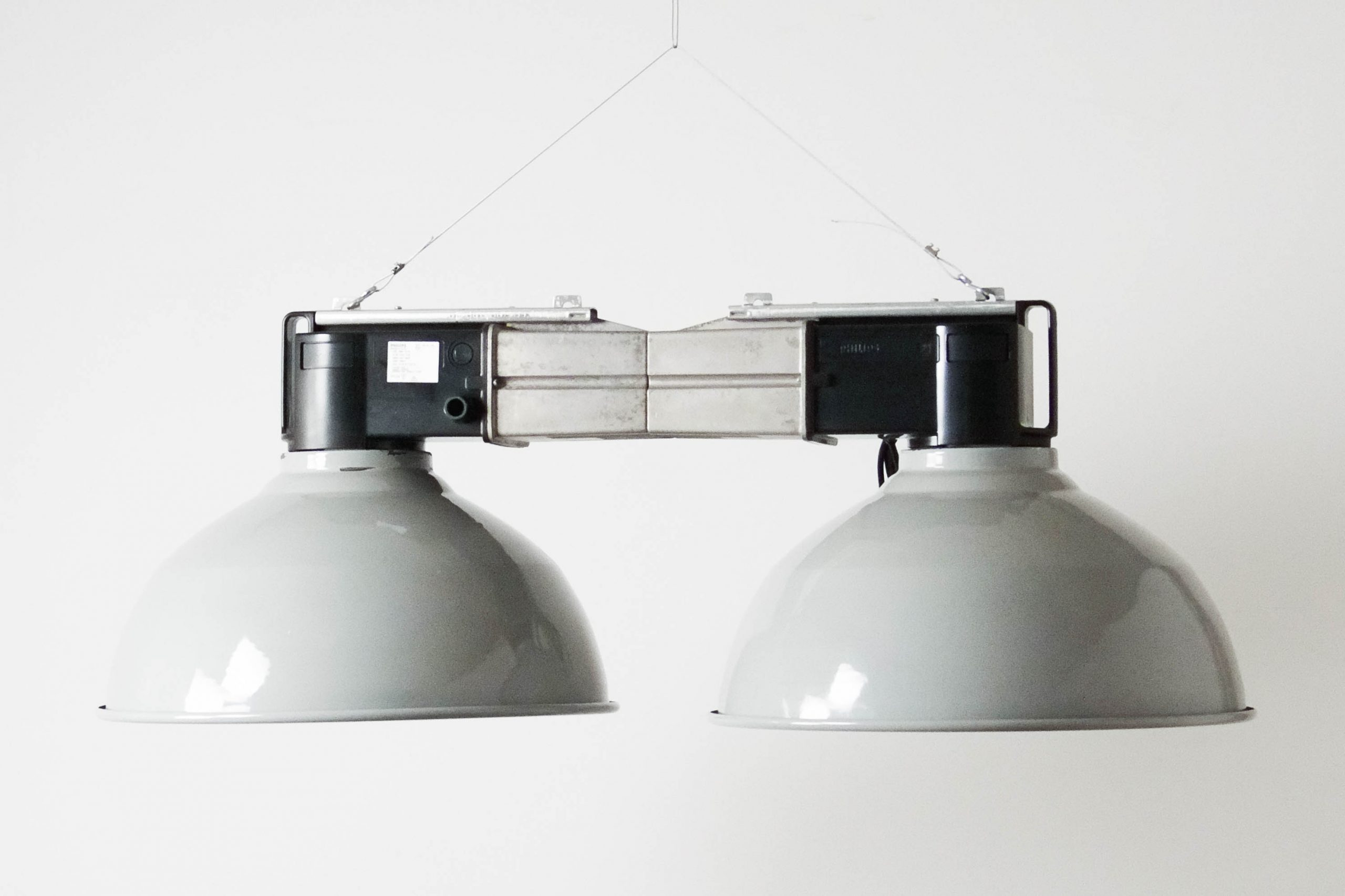 lampara phillips doble vintage retro gris