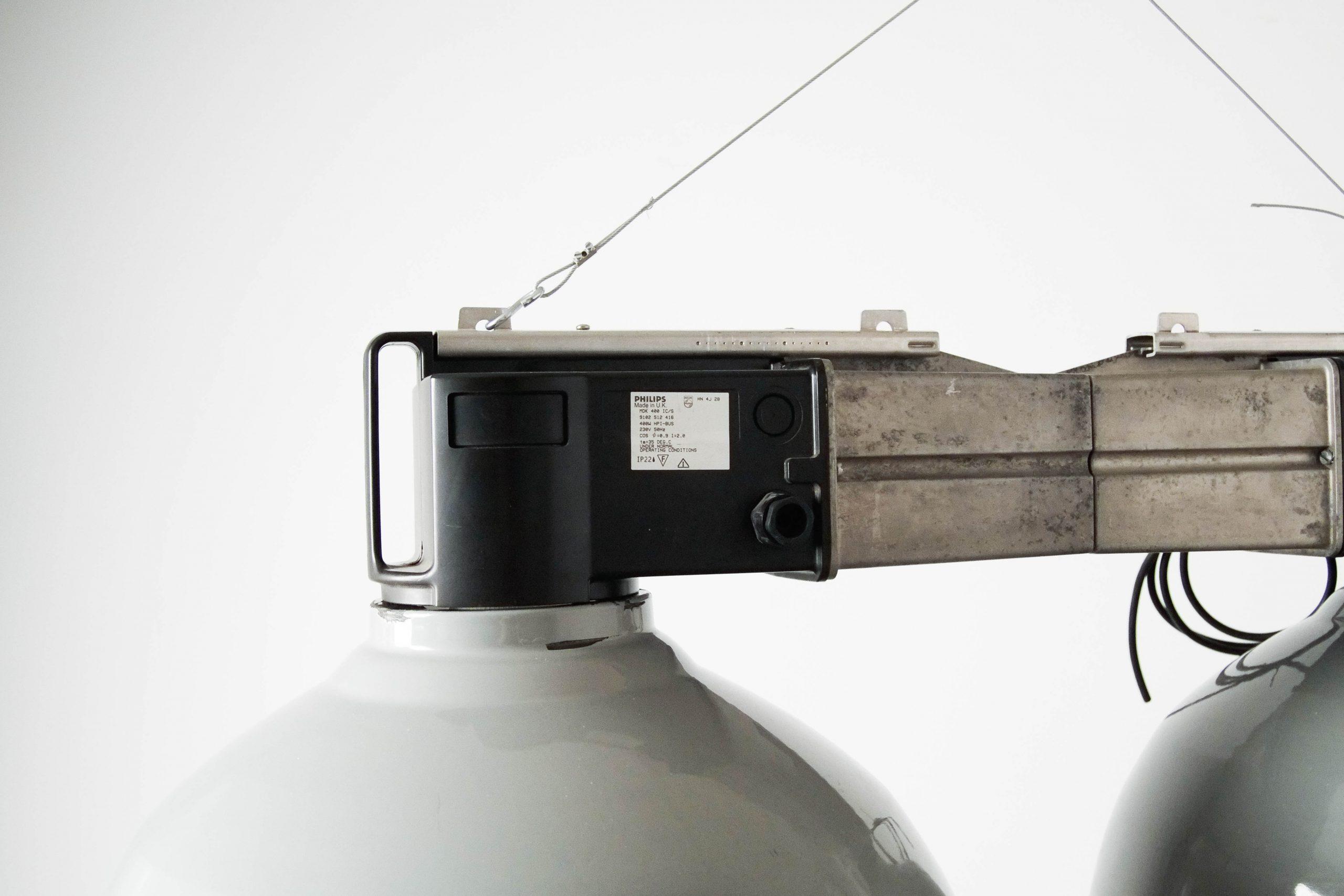 lampara de techo dos en uno gris industrial de diseño