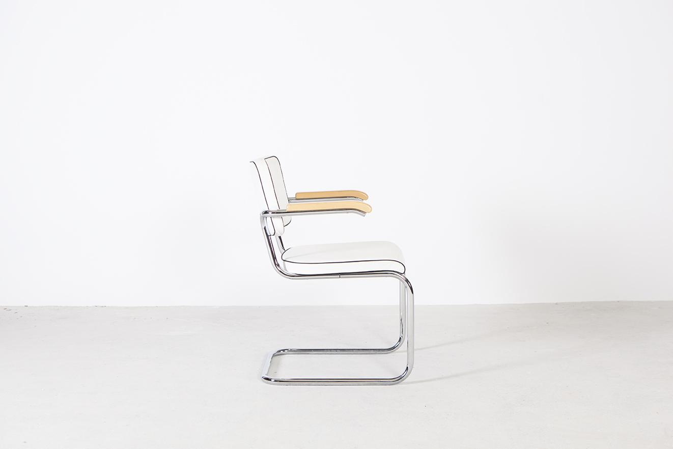 silla cesca marcel breuher diseño bauhaus mid century blanca piel
