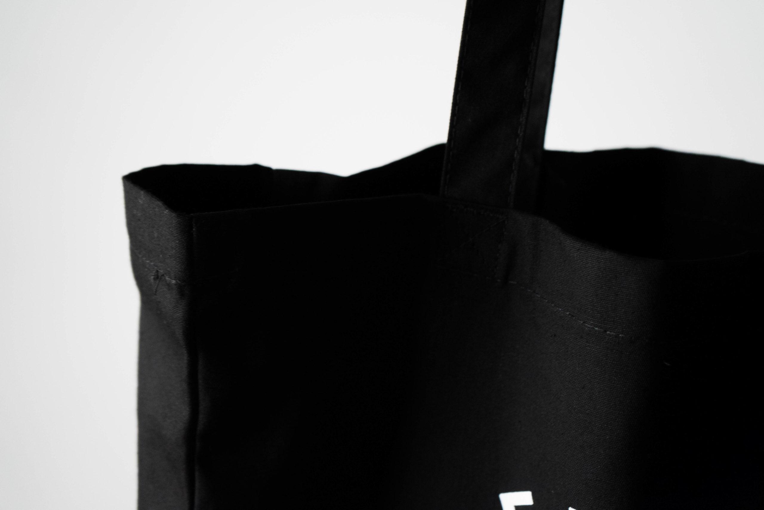bolsa de algodon negra de calidad de diseño logo serigrafia