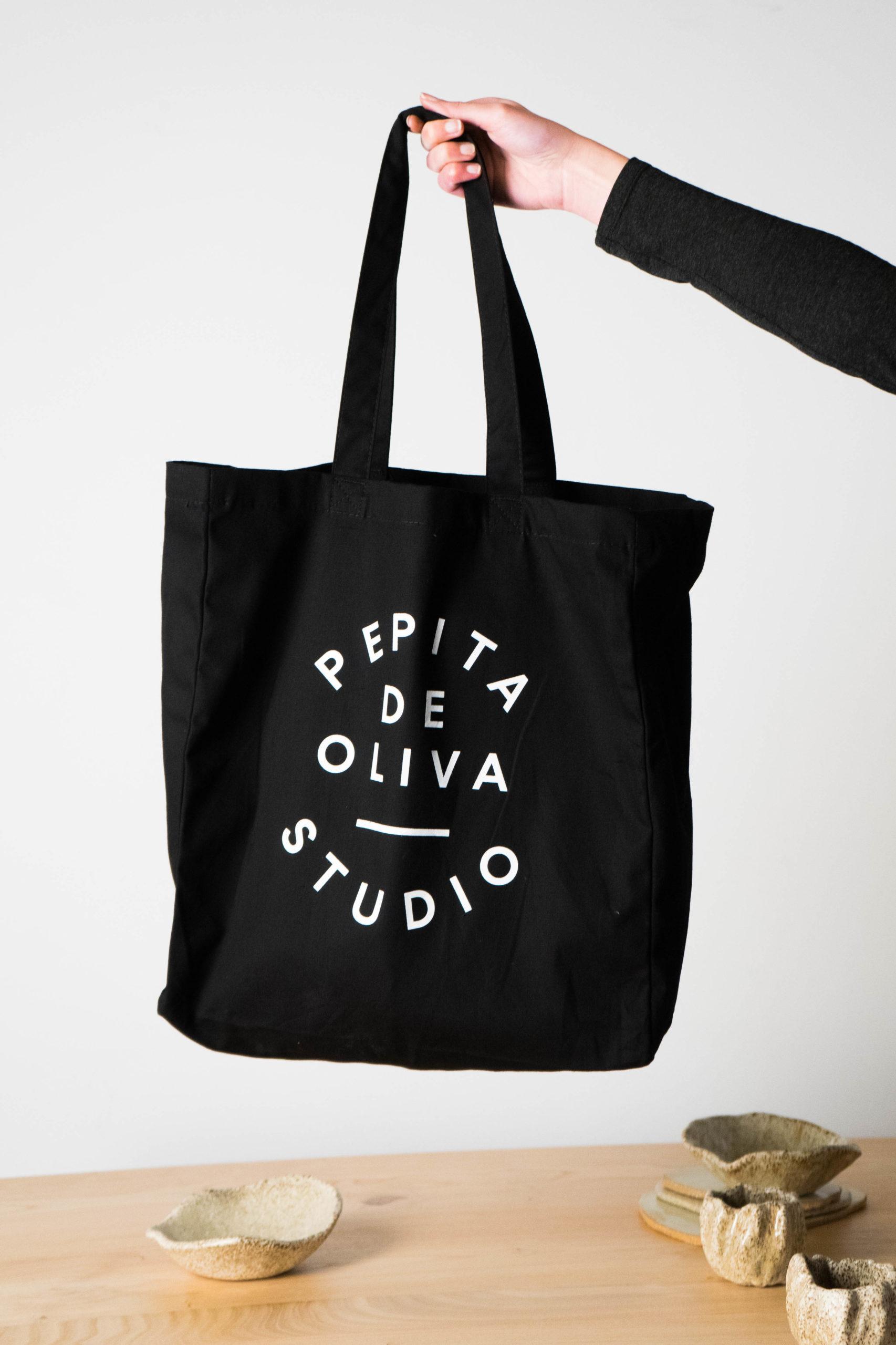bolsa de calidad asa tela de diseño hecha a mano negra serigrafia