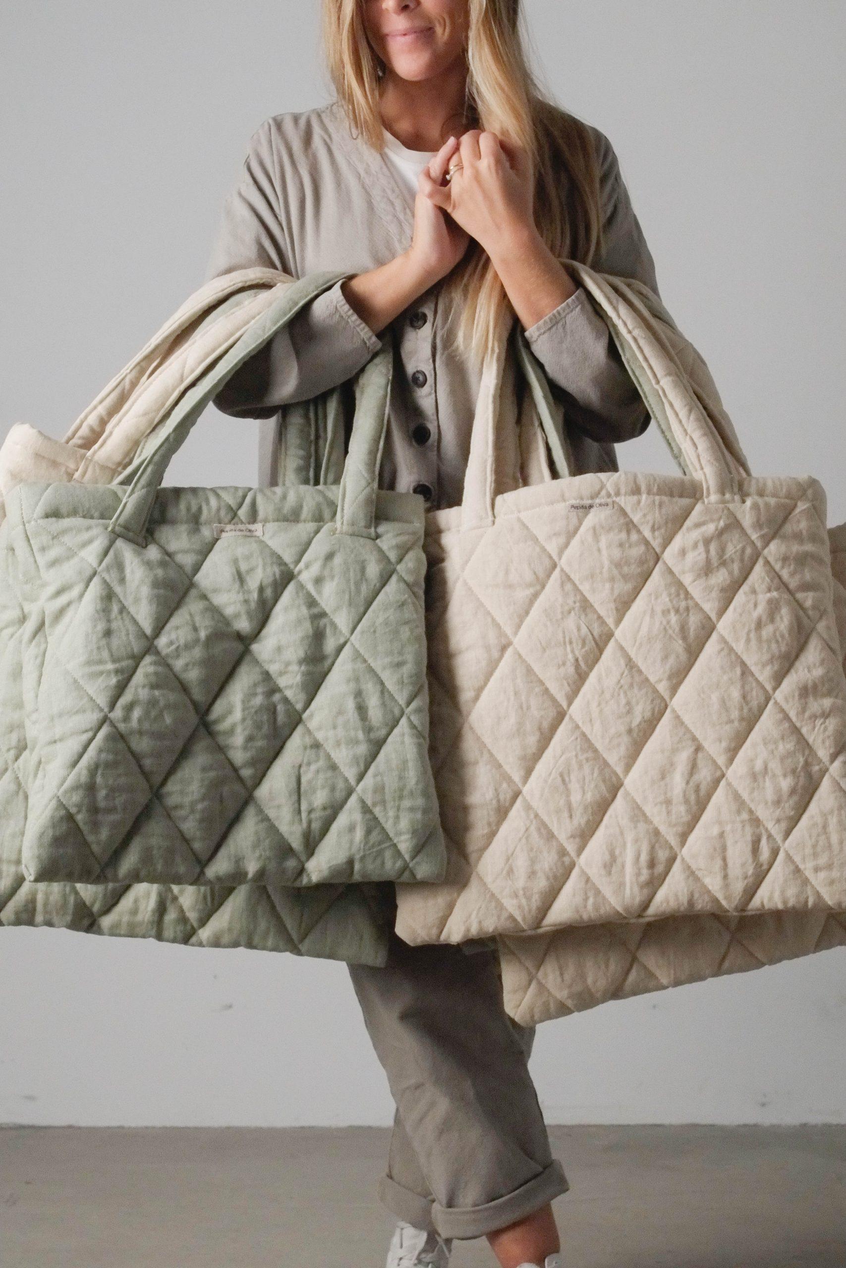 bolsas de diseño tejido acolchado de guata beige verde