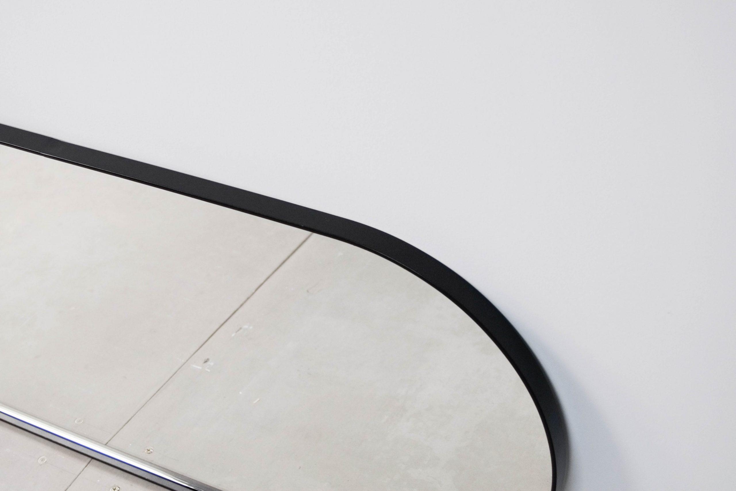 espejo pepita de oliva redondeado redondo diseño negro