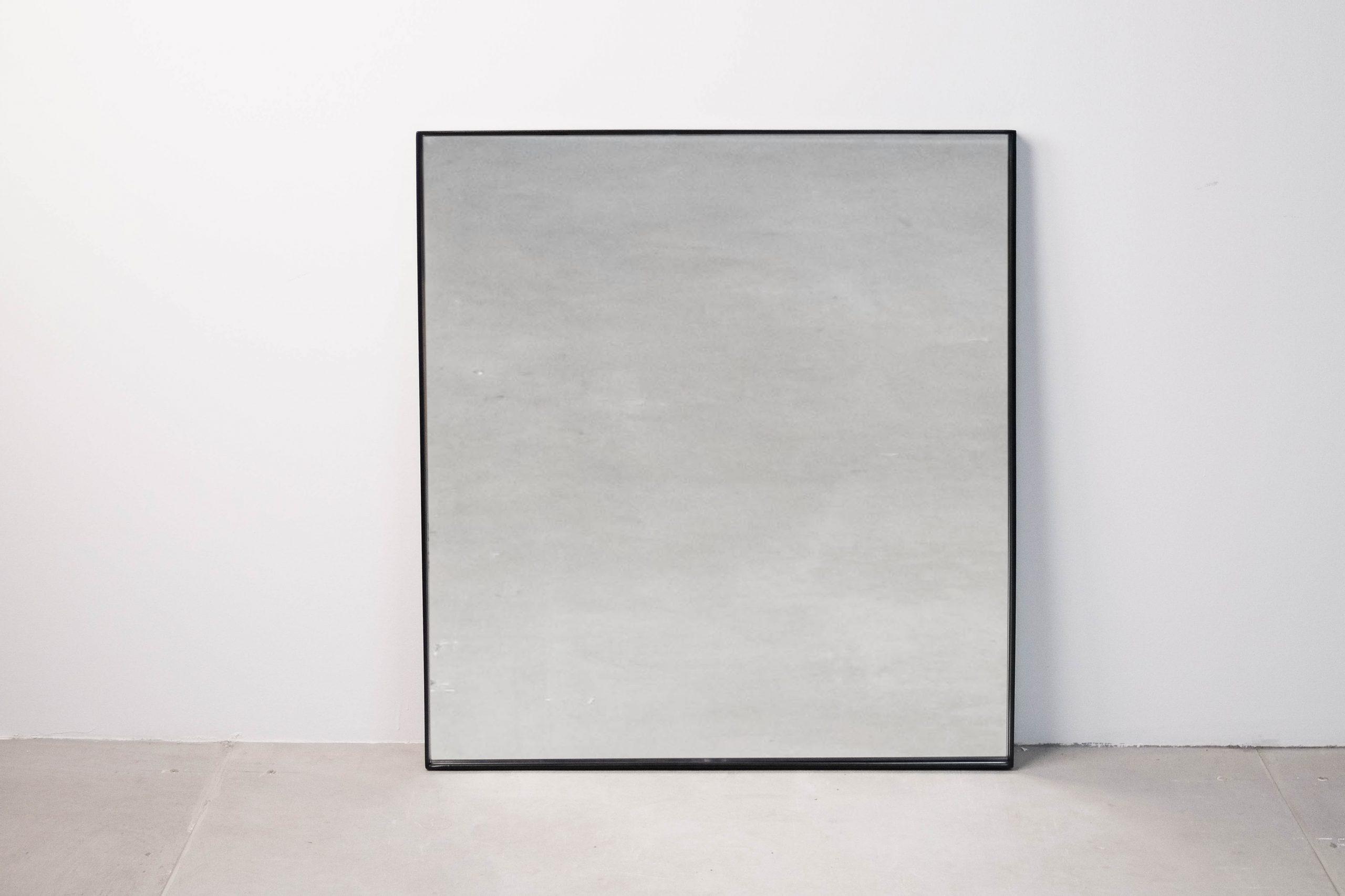 espejo cuadrado pepita negro metal