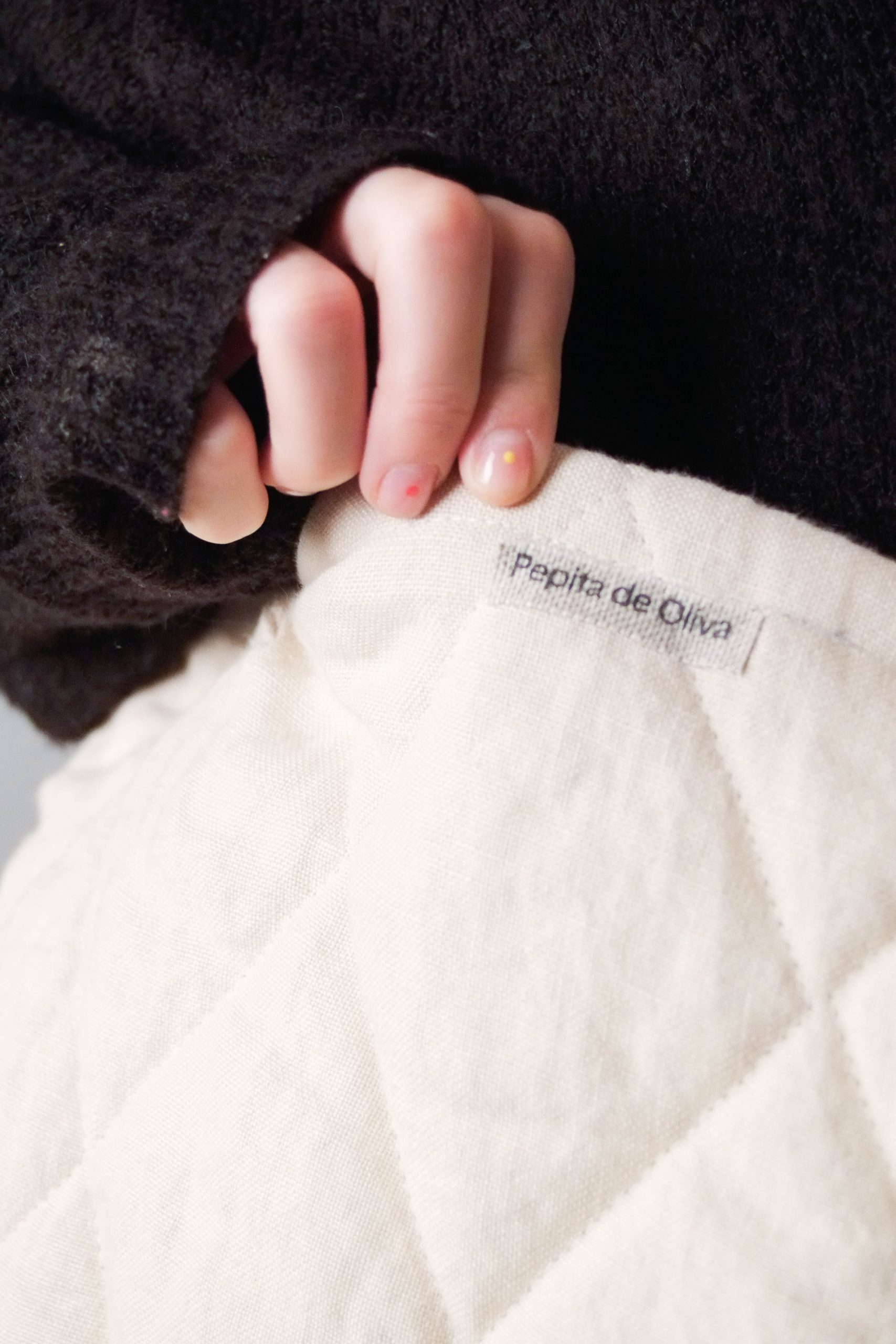 bolsa de guata detalle cosida tejido bolsa bonita tela