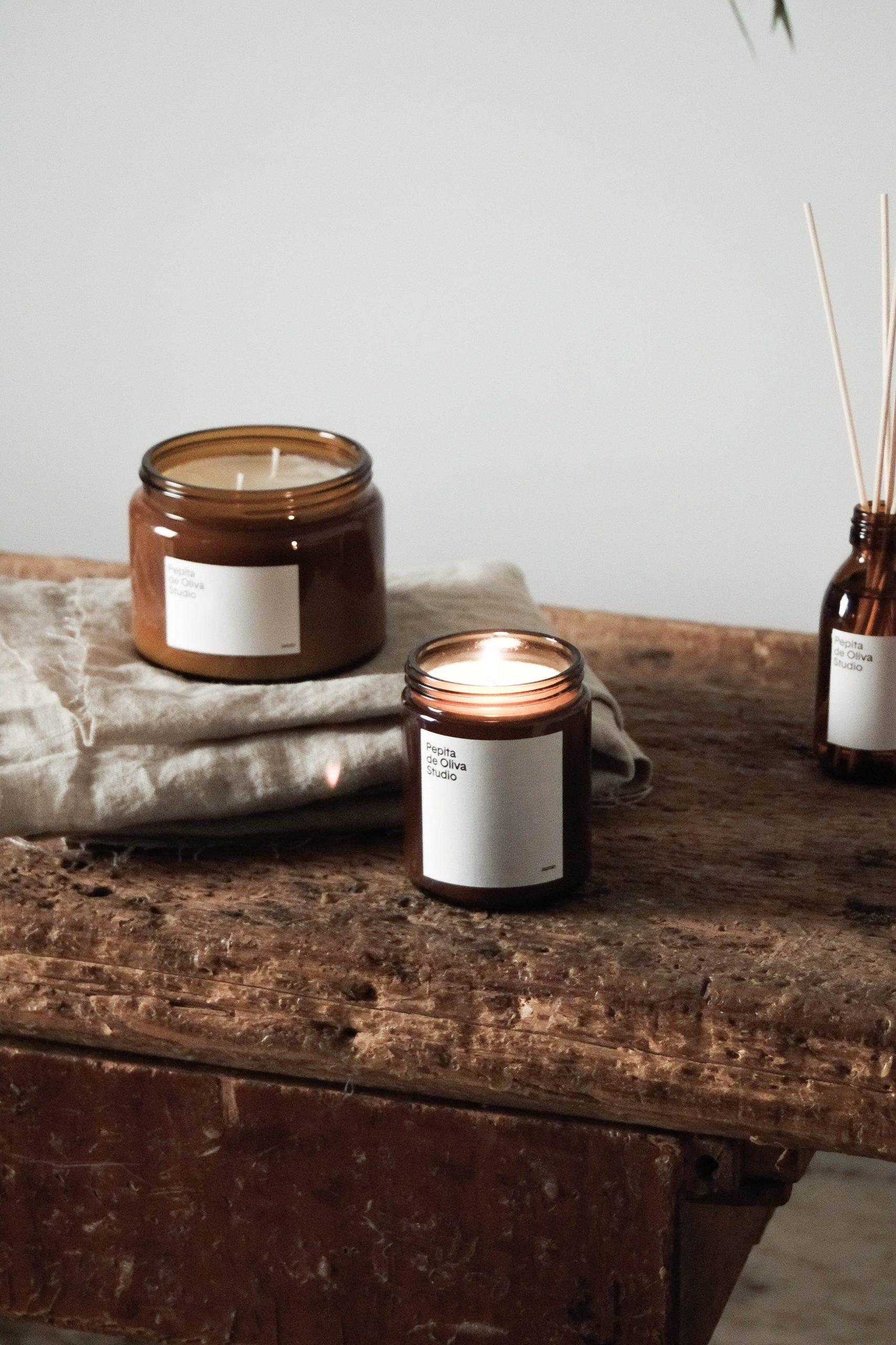 vela de diseño natural jazmin tarro aromatica
