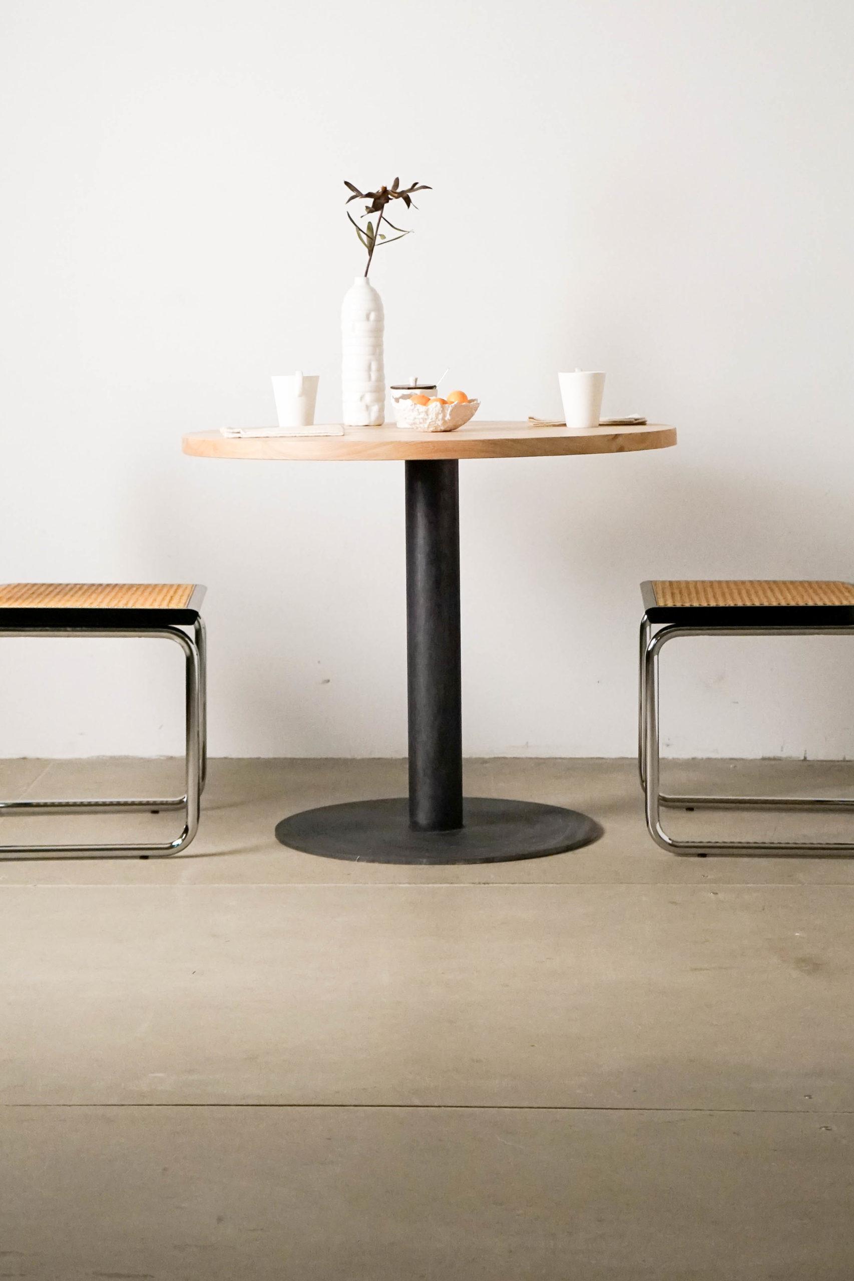 mesa de madera redonda mesa cesca