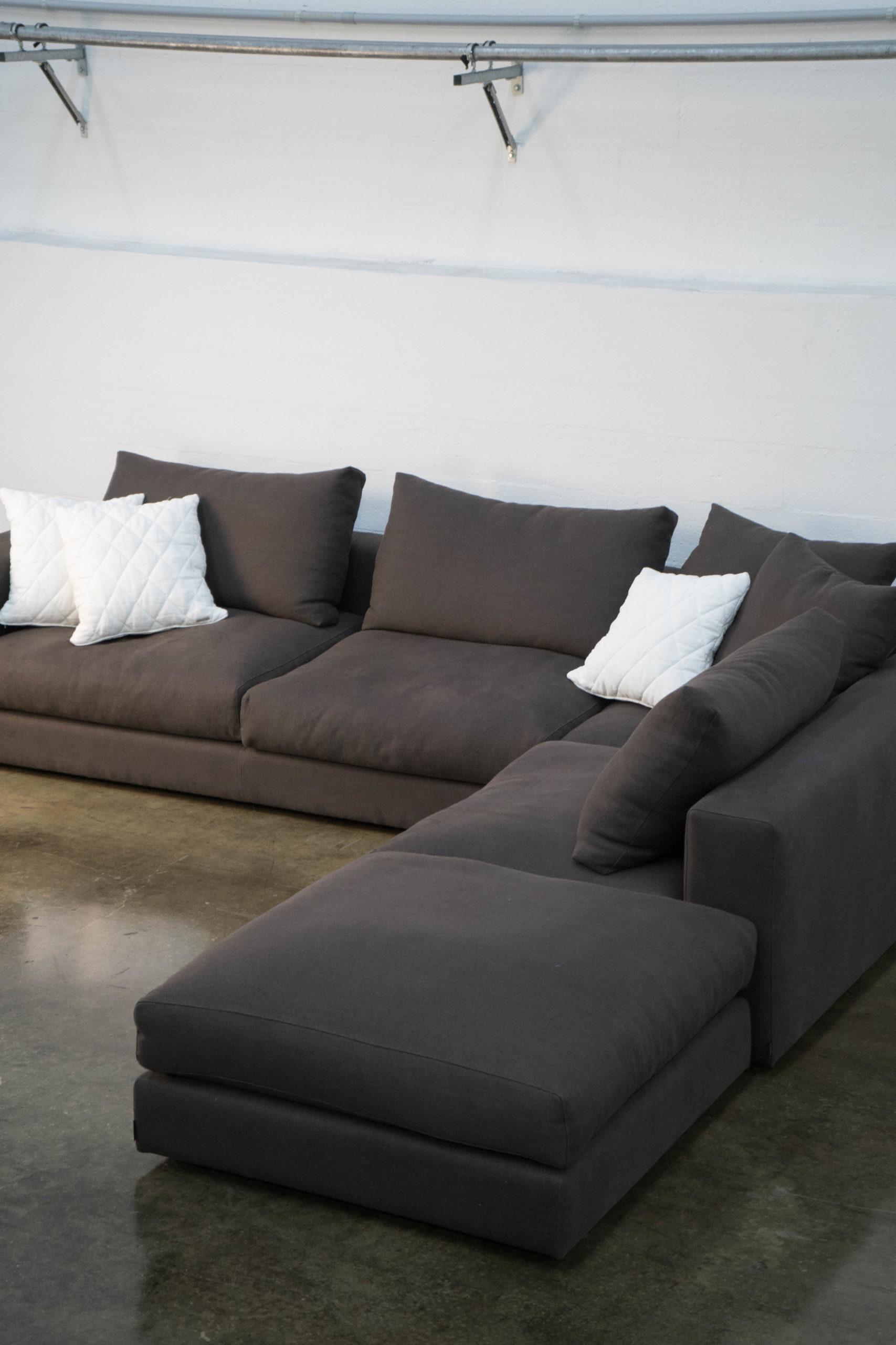 sofa decoracion casa marron grande chaise