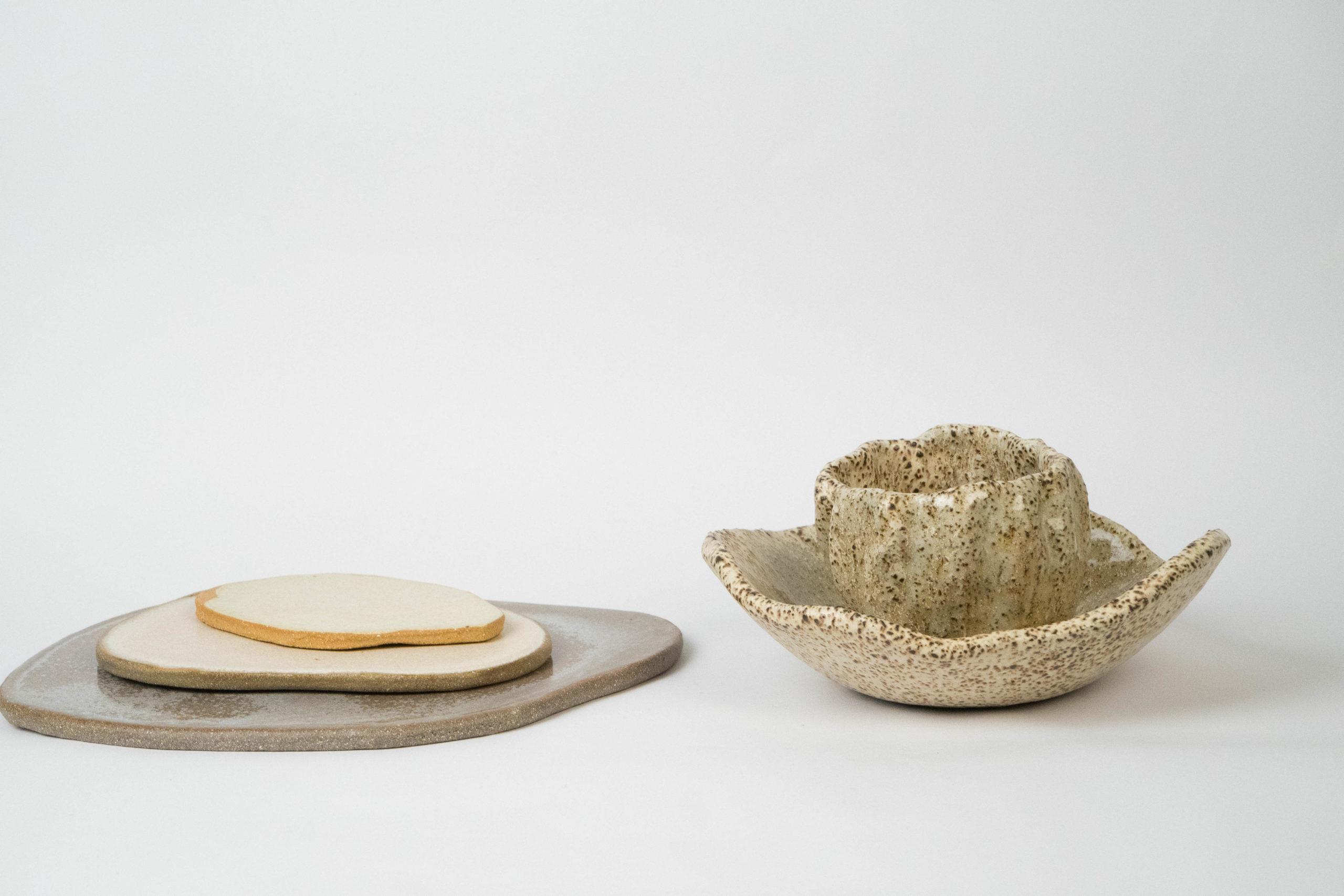 set ceramico irregular artesanal vaso cuenco diseño especial