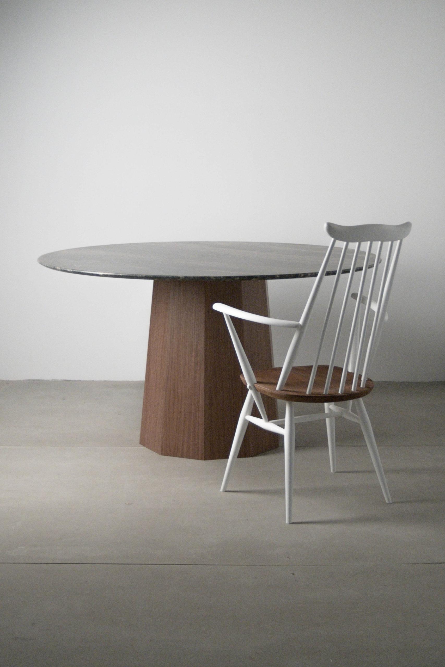 marmol redondo mesas a medida con silla