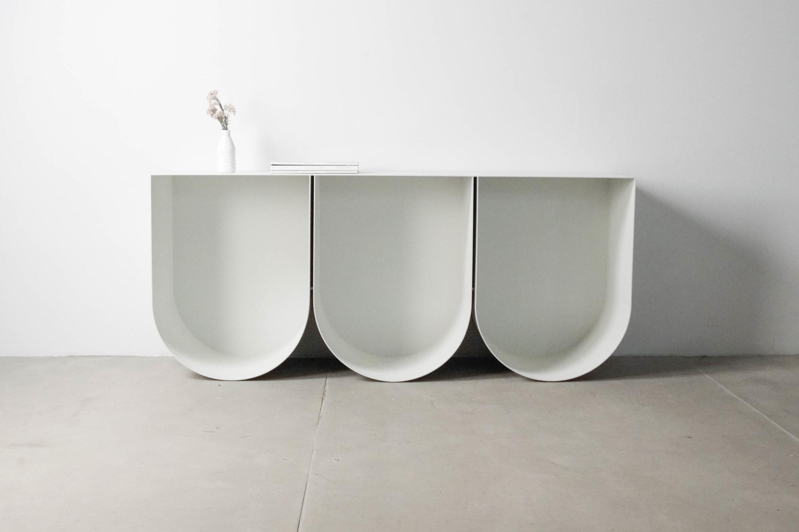 mueble u consola estanteria blanca metalica moderna