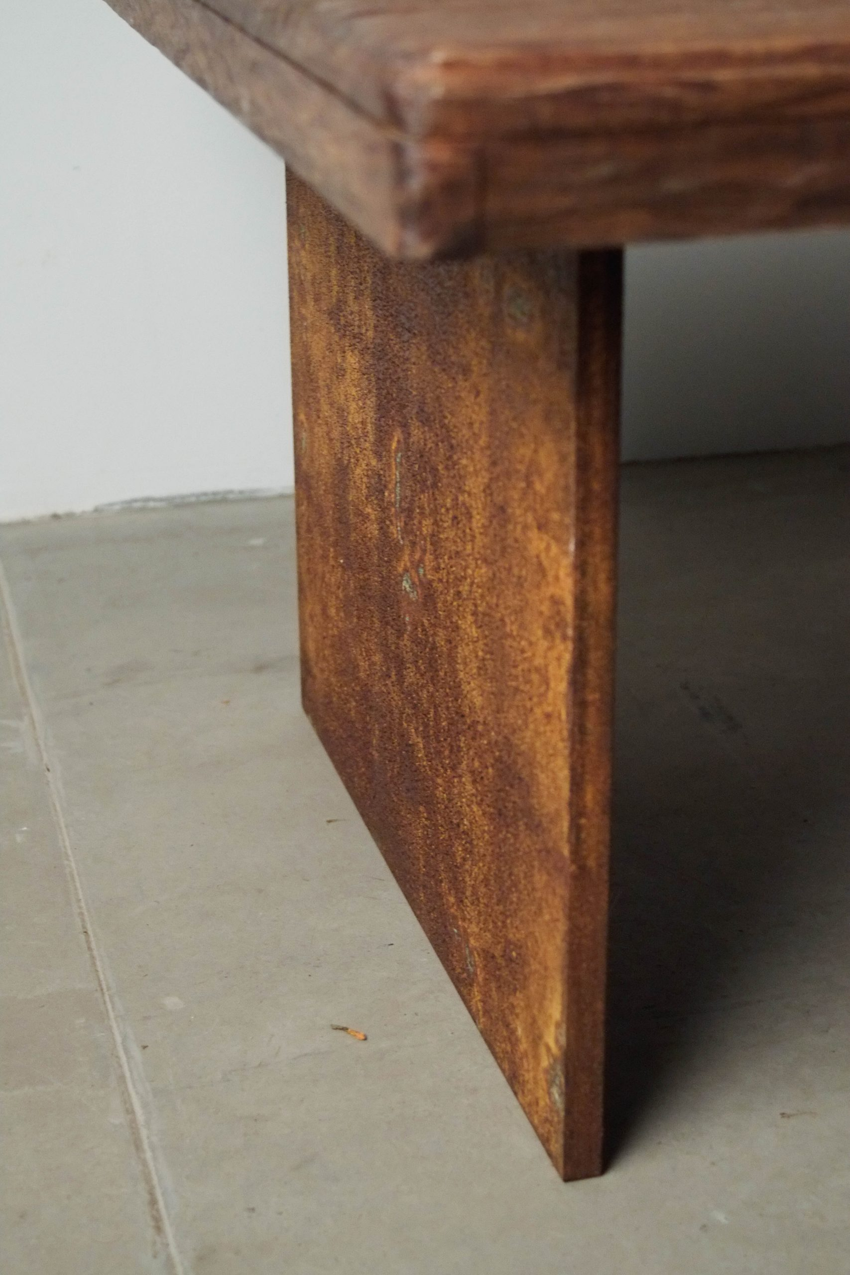 mesa de diseño hecha a mano mesita de cafe salon centro detalle oxido