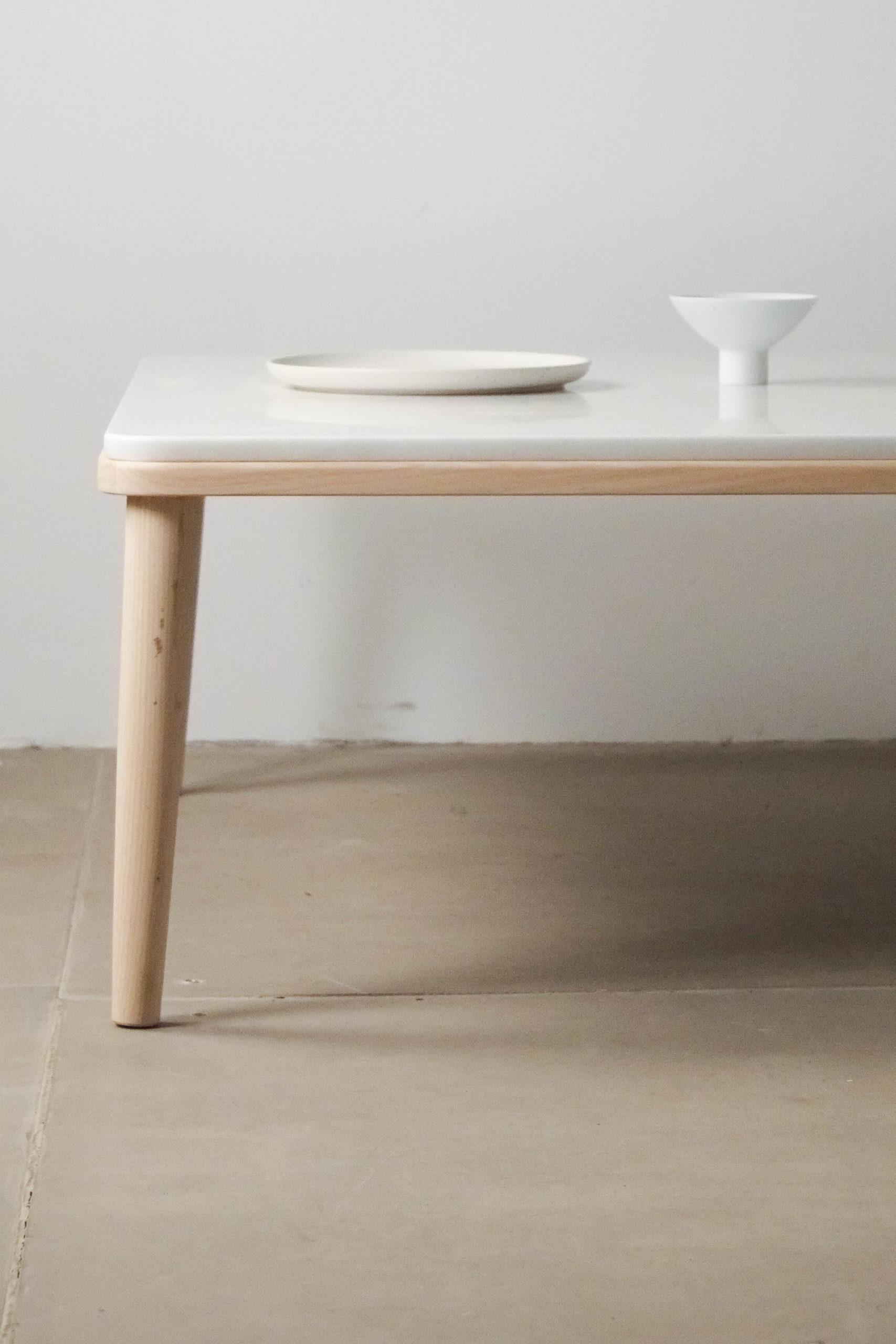mesa blanca madera marmol calidad