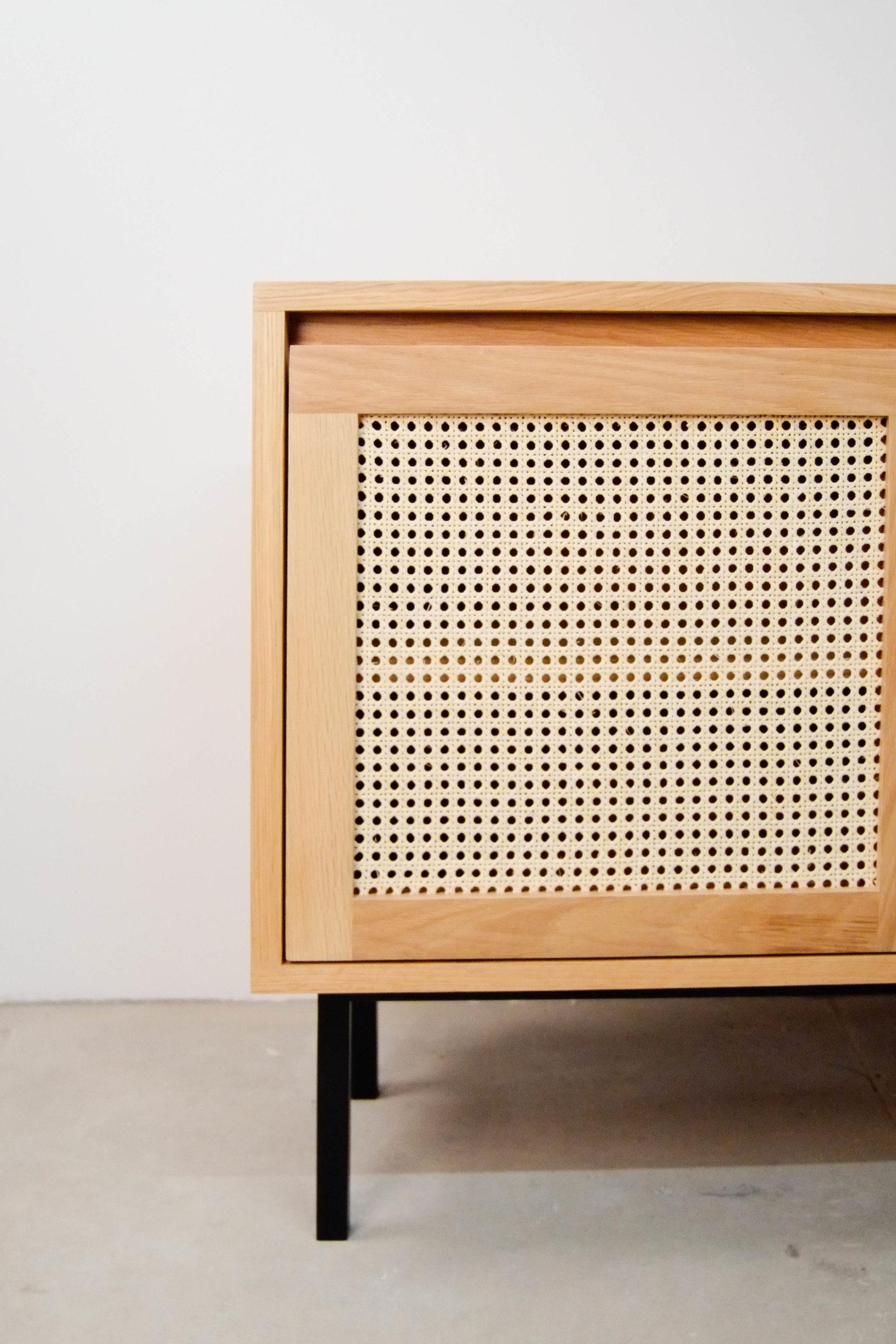 mueble de madera mimbre de diseño natural de calidad