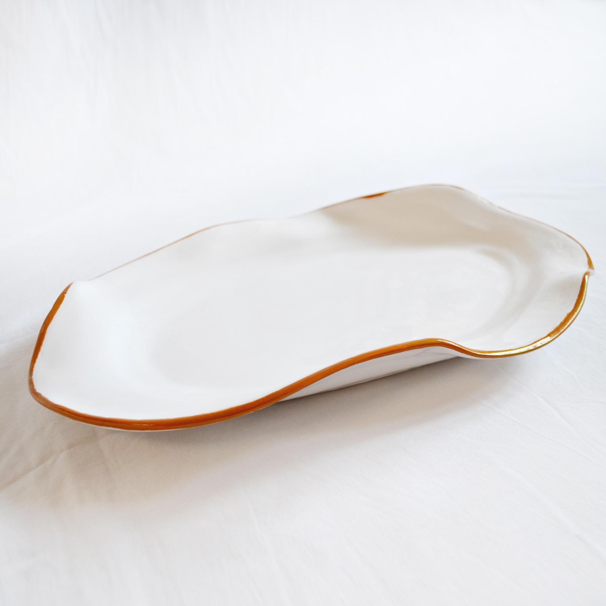 bandeja fuente salsera ceramica hecha a mano