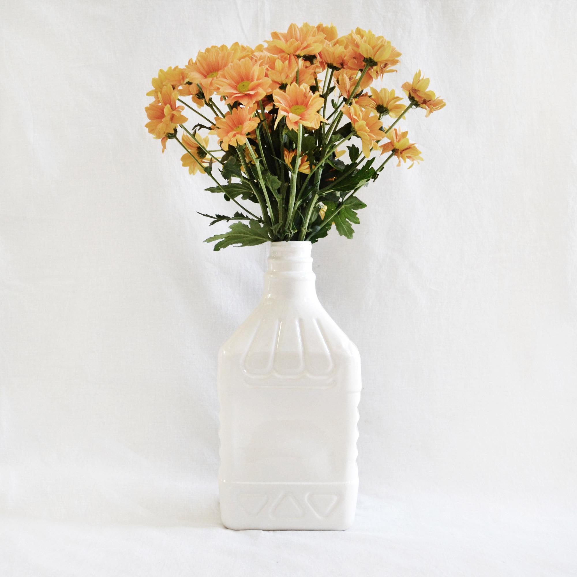 botella grande jarron de diseño botella elegante blanca loza diseño hecha a mano