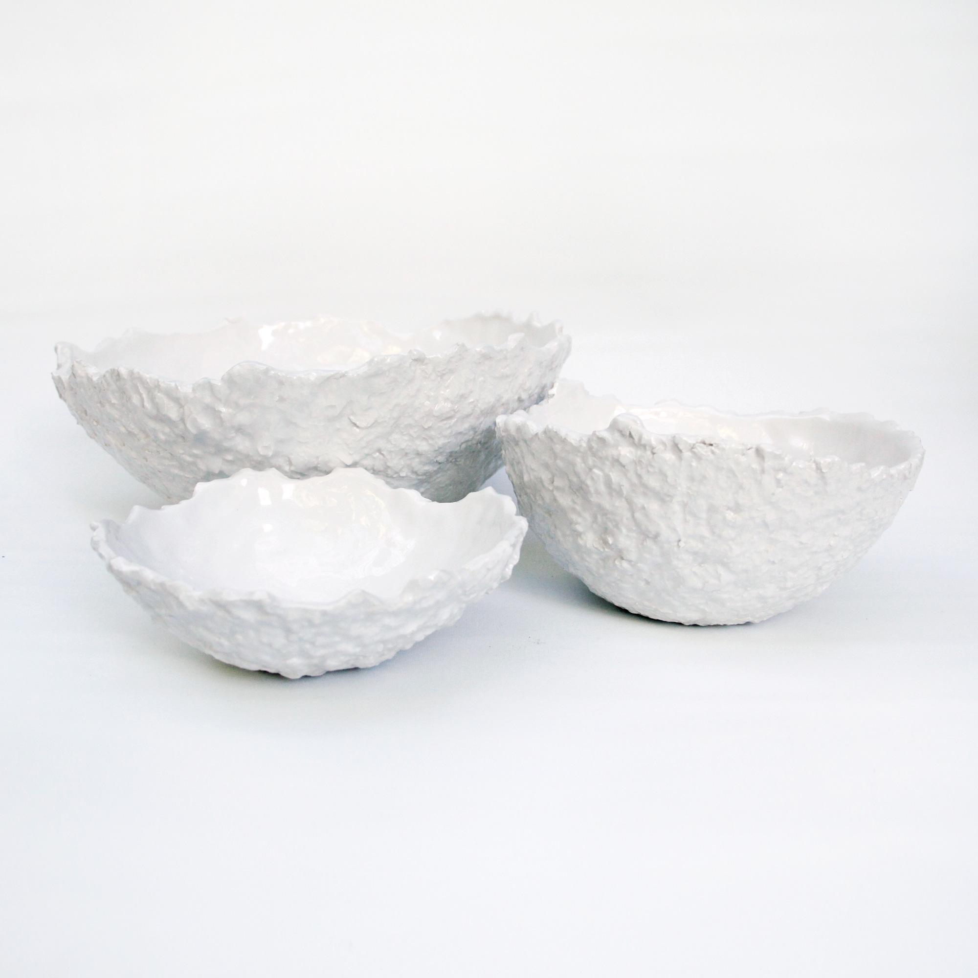 set bowls bols cuencos de calidad fabricados a mano en loza ceramica blanca