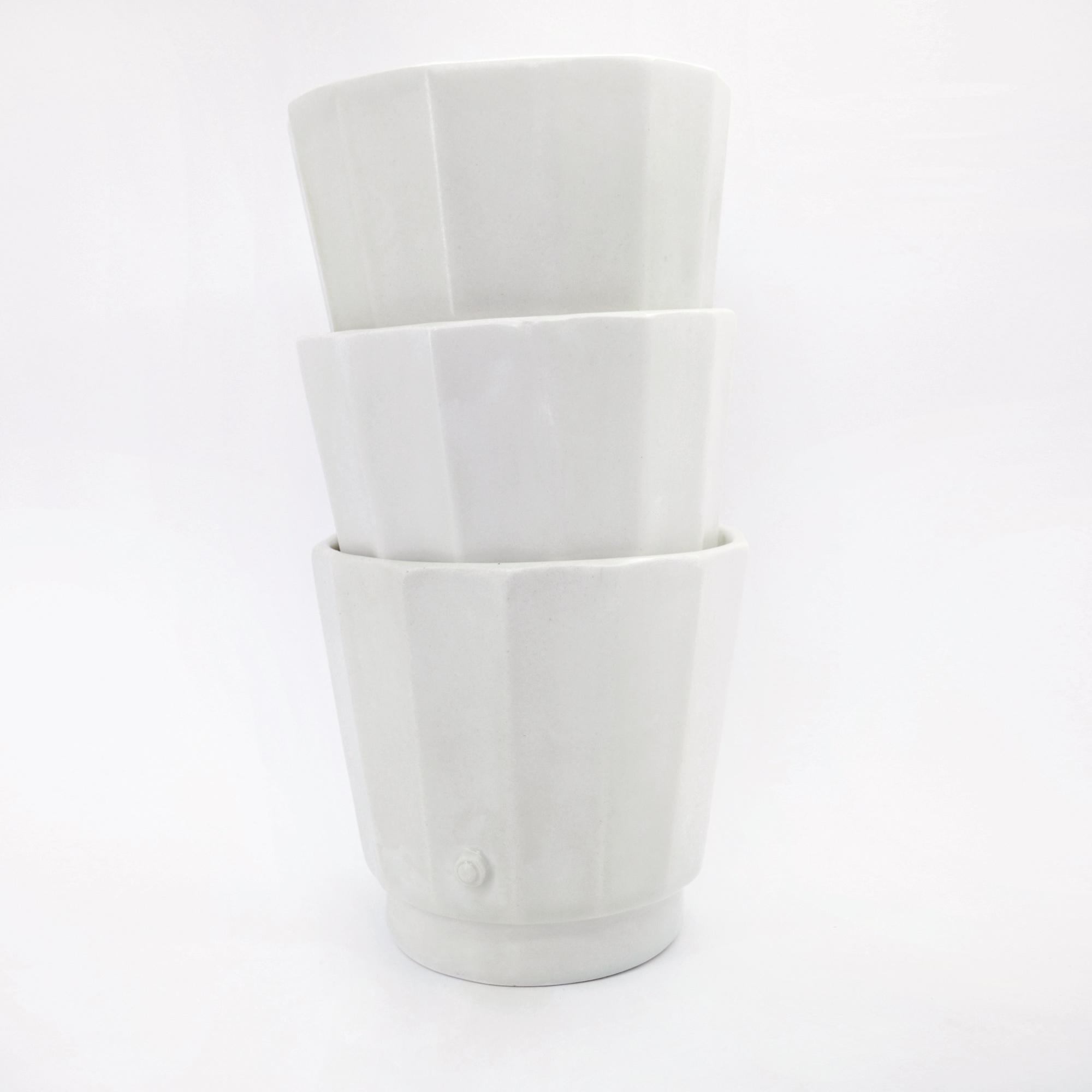 recipiente blanco ceramico diseño fabricado a mano bol recipiente blanco