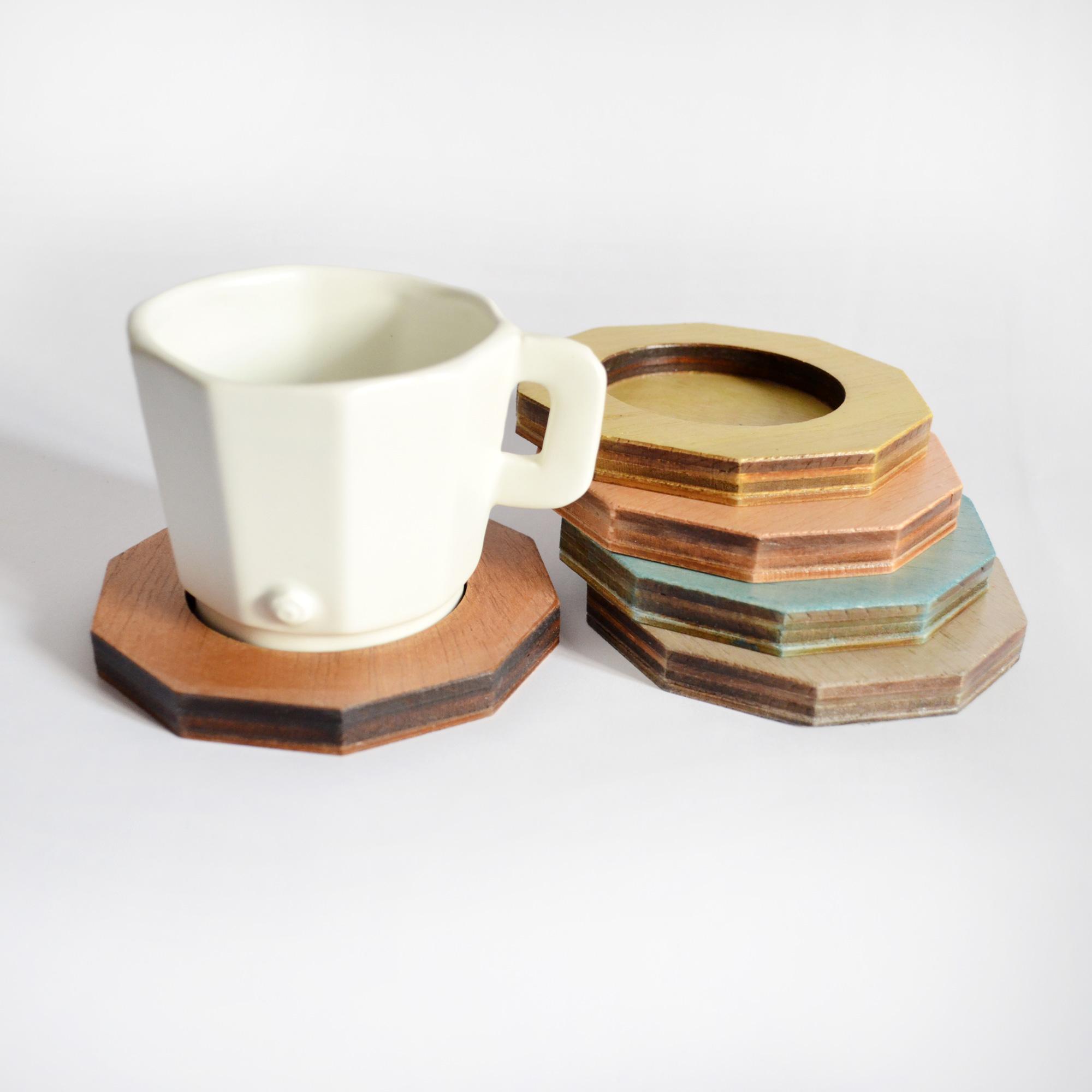 taza de diseño de calidad blanca fabricada a mano hecha a mano madera platos