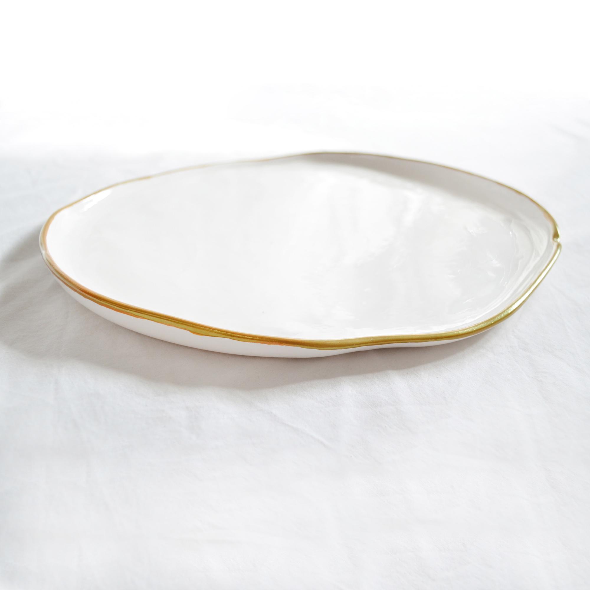 plato llano grande miyaya de diseño fabricado a mano blanco decoracion