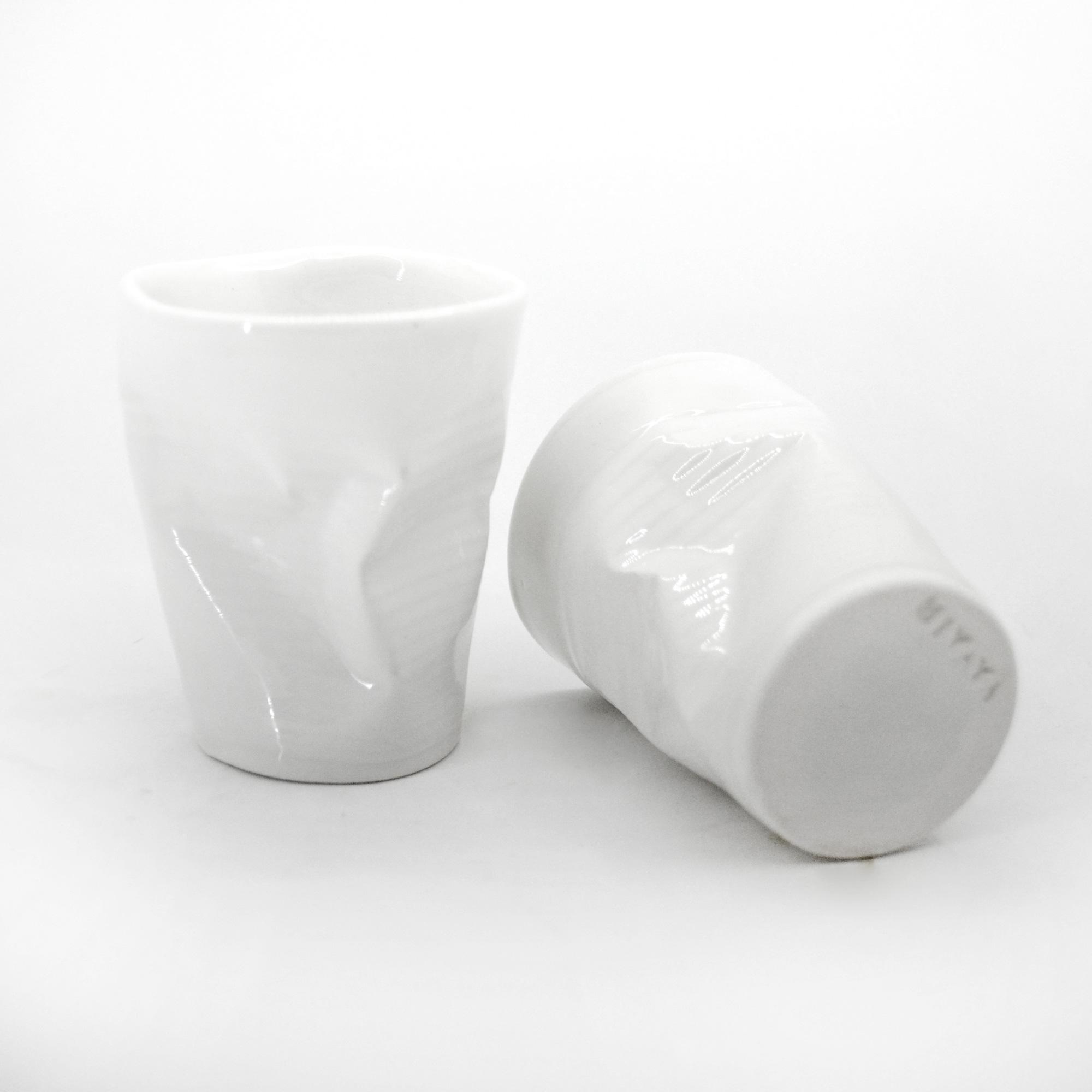 set de vasos de plastico angulo debajo calida hecho a mano irregular