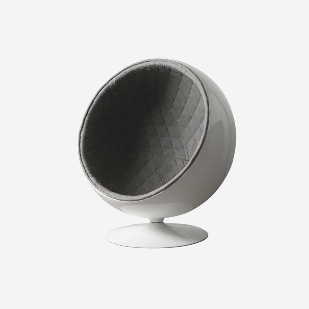 butaca acolchada elegante de diseño hecha a mano de calidad gris redonda