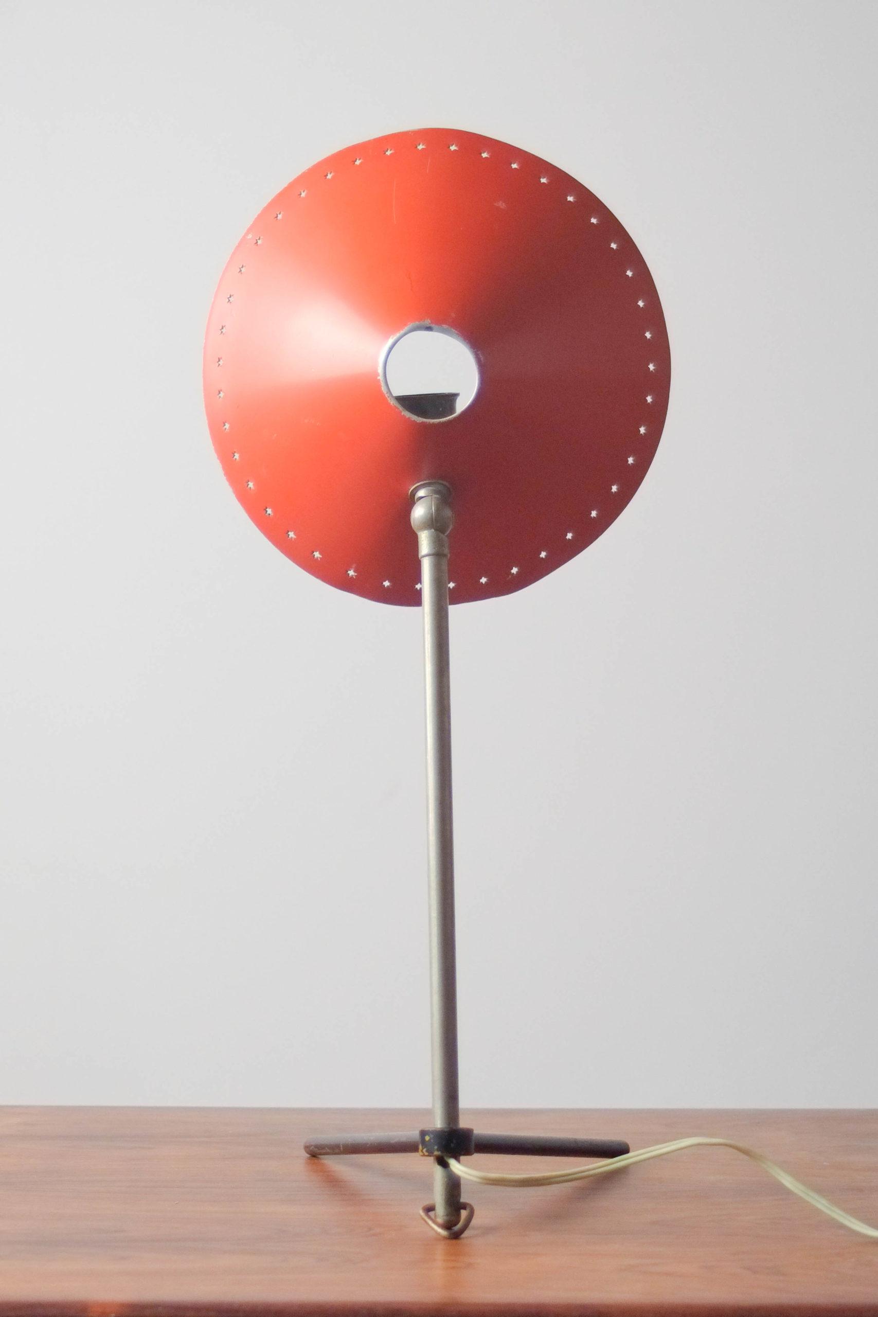lámpara de mesa años 60 rojo metálica ajustable