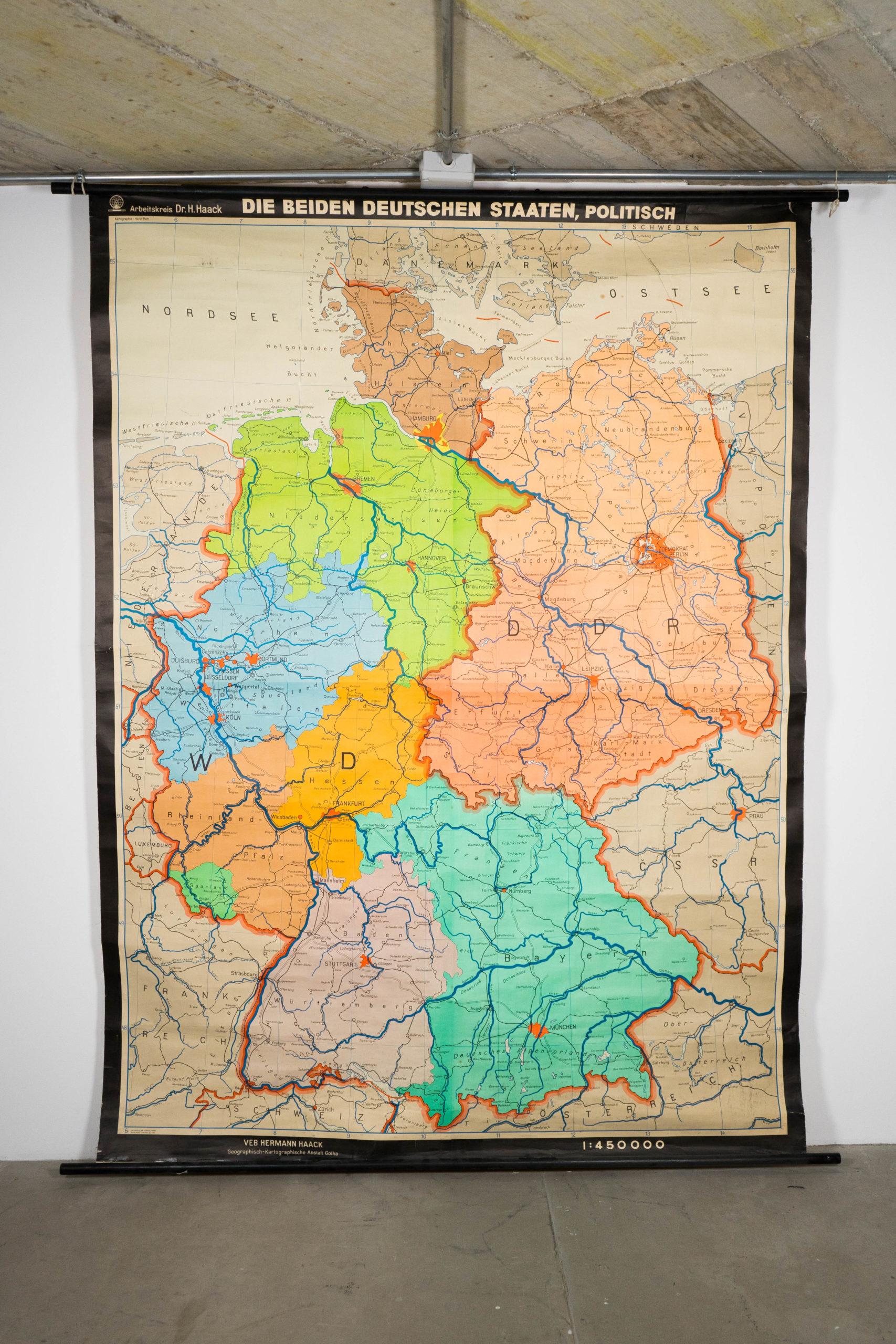mapa de colores alemania politco vintage